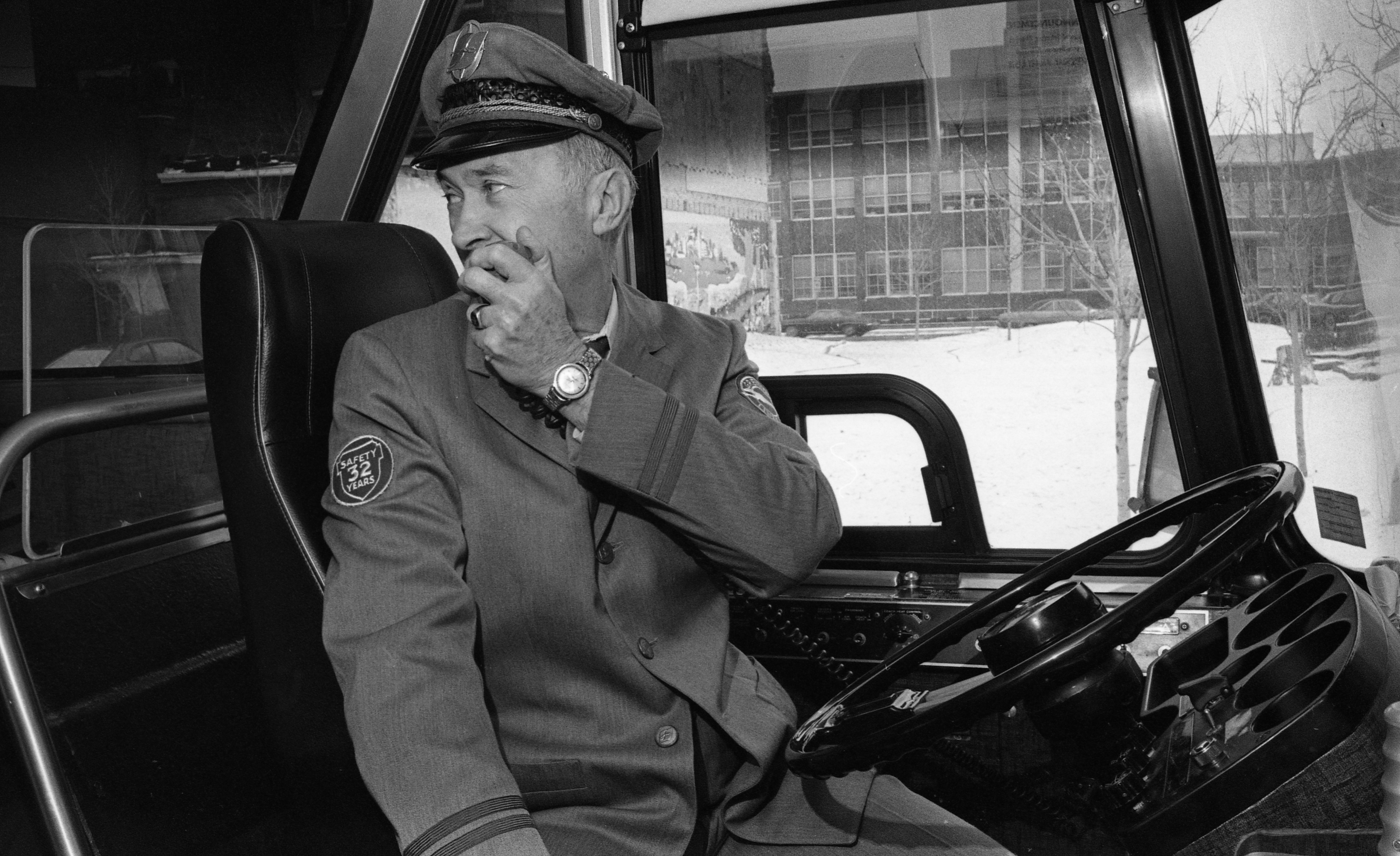 Greyhound Bus Driver Robert H. Morrow Retires After 32 Years, December 1977 image