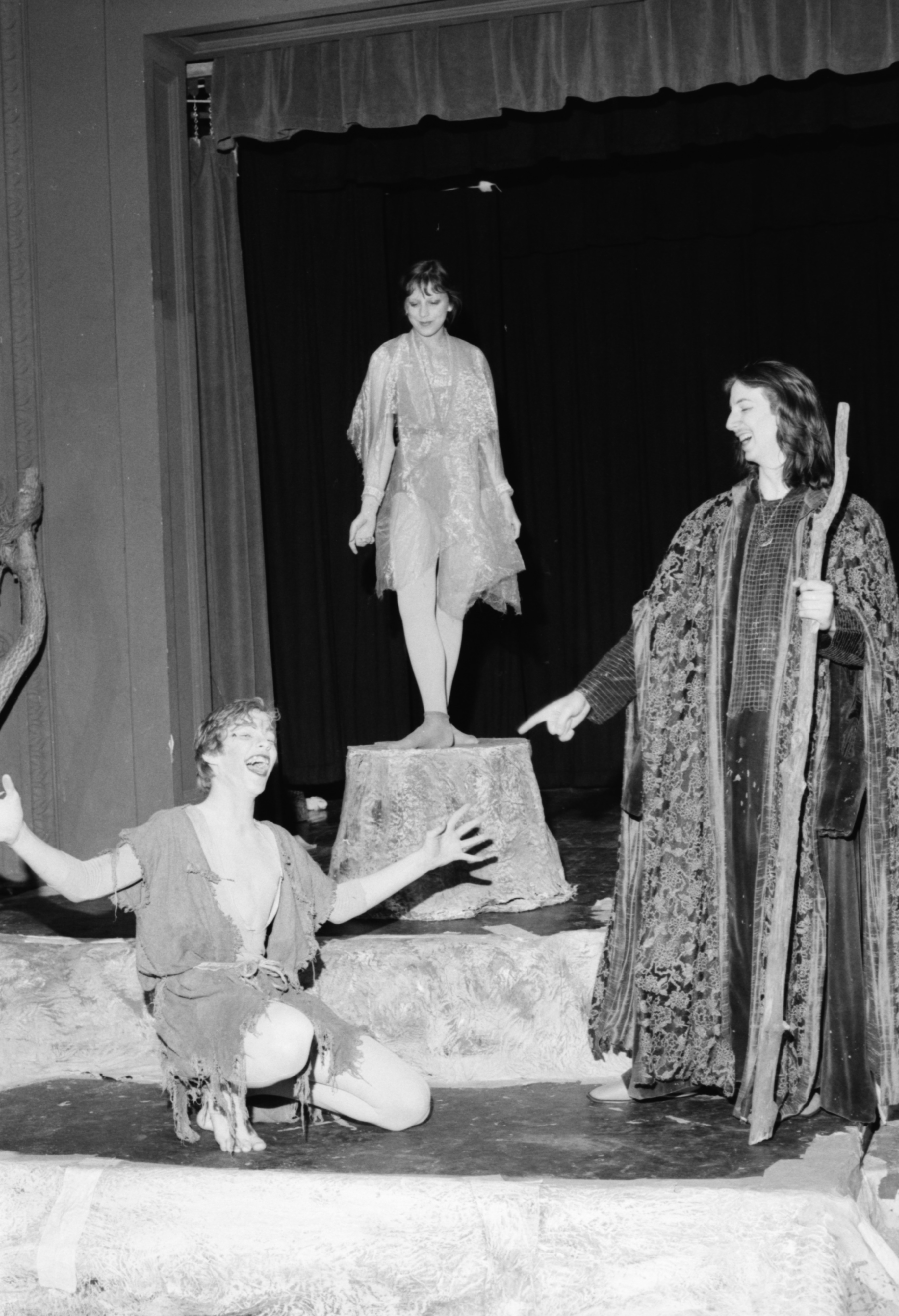 "Matt Cooper, Diedre Orquist and Will Cares in Community High School's ""The Tempest,"" April 1982 image"