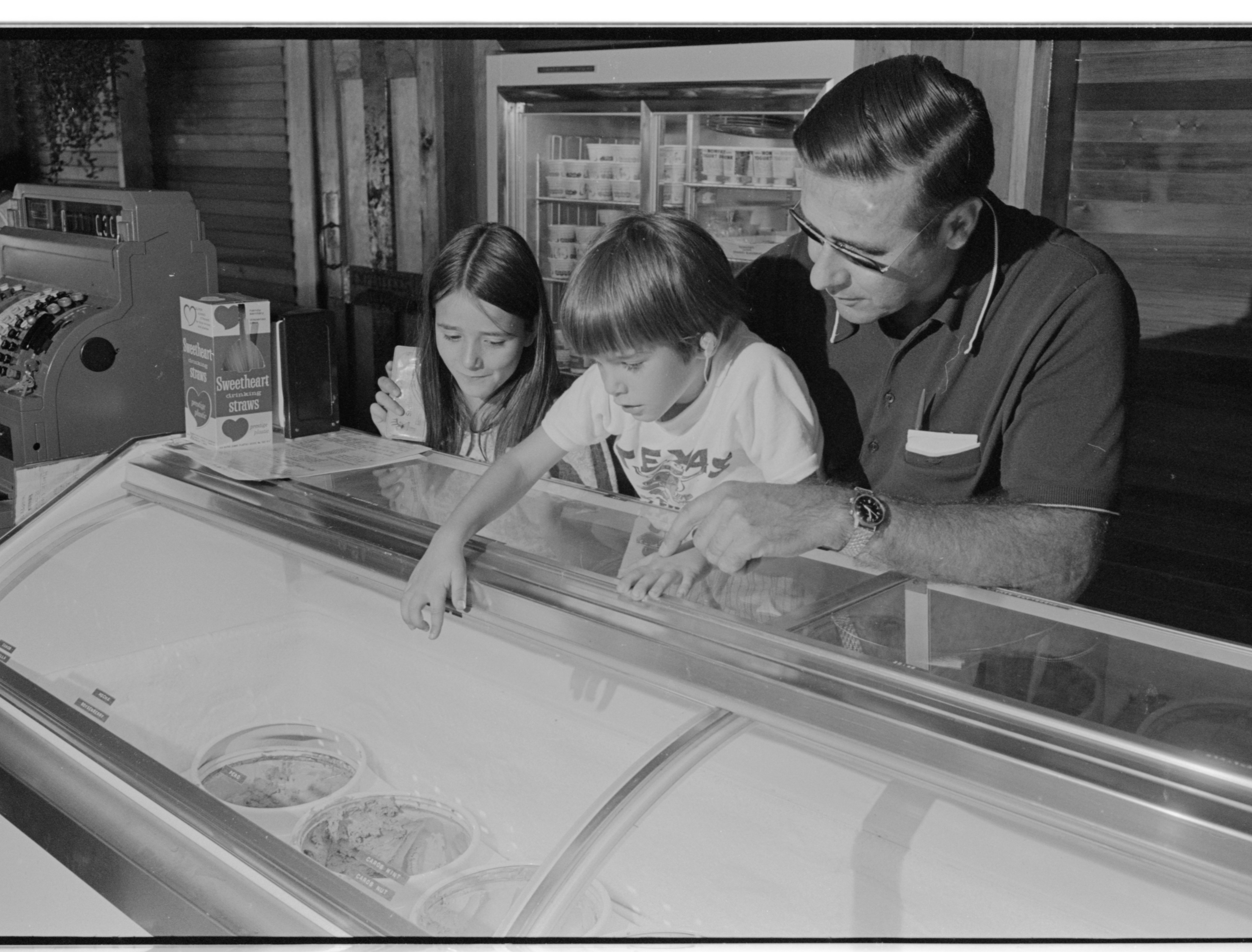 Picking a Flavor At Mountain High Ice Cream Parlour, August 1974 image