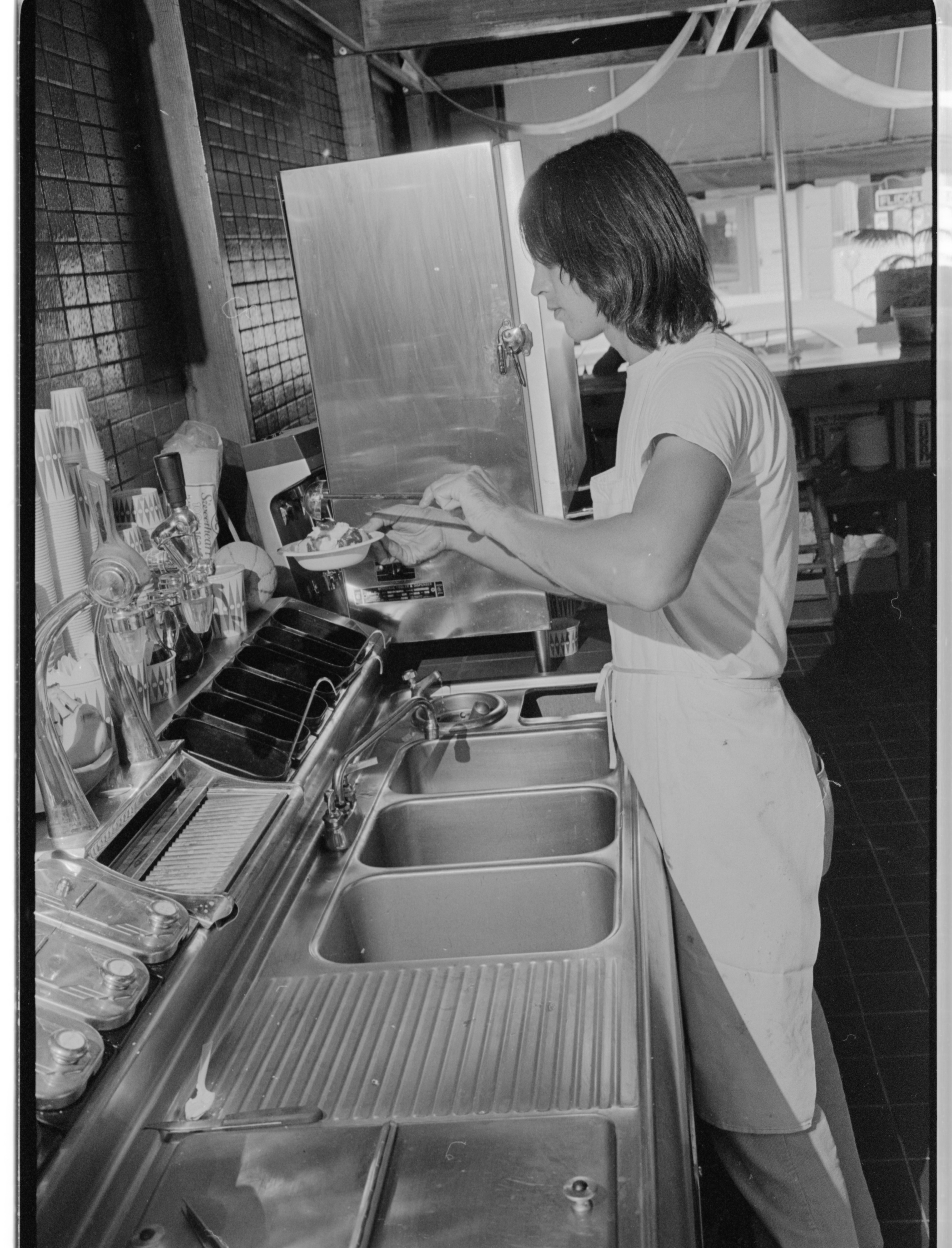 Building A Sundae at Mountain High Ice Cream Parlour, August 1974 image