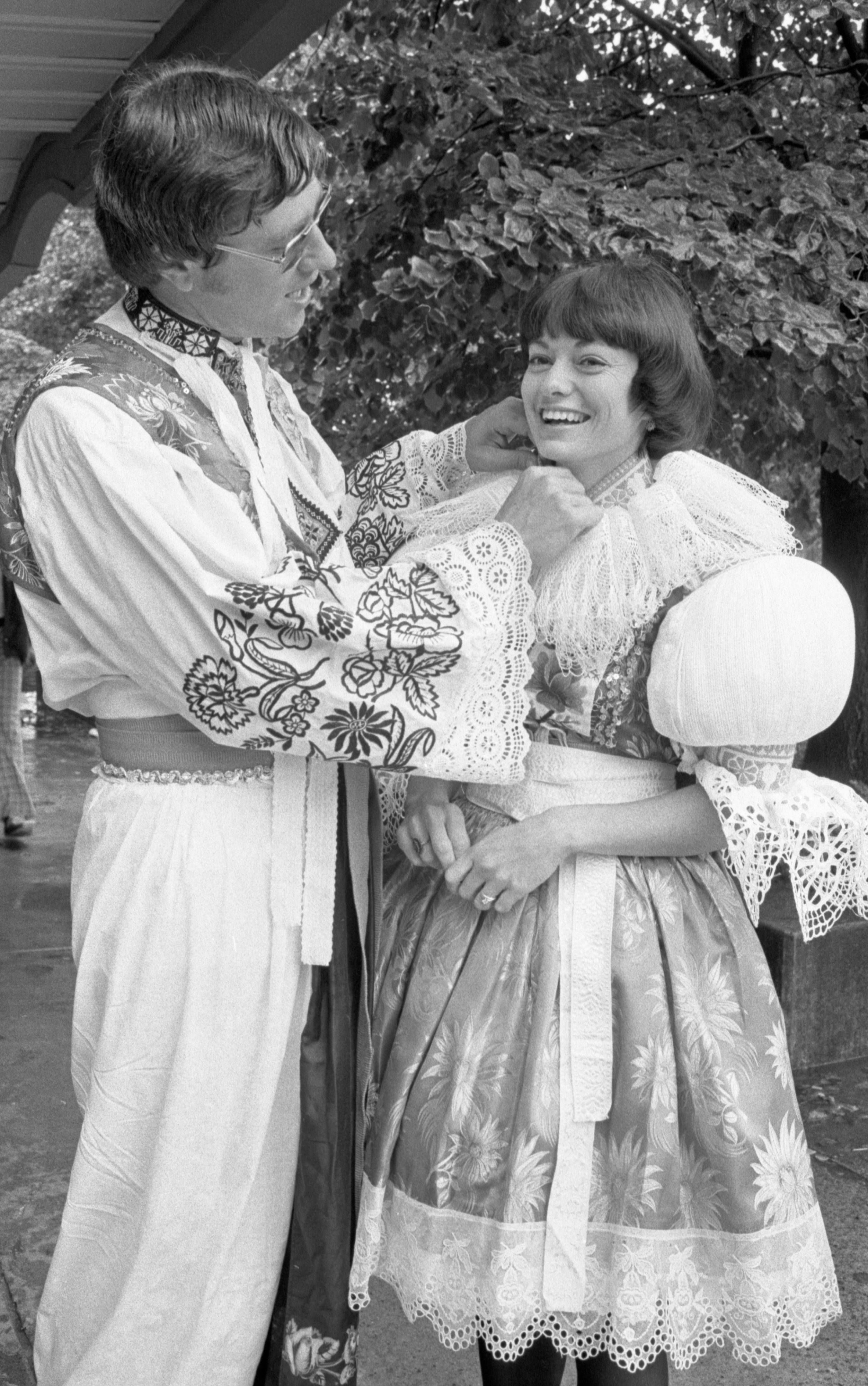 "Kenneth & Shirley Ivan Prepare Their ""Kroje"" Clothing For The Ann Arbor Ethnic Fair, September 1975 image"