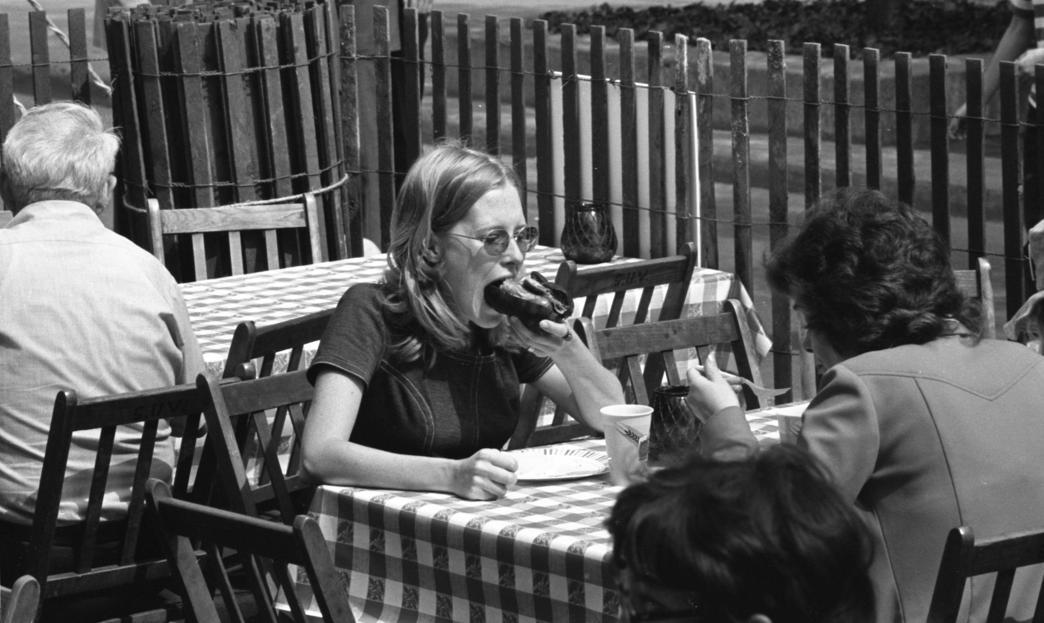 Sally Bush Eats At German Tent In The Ann Arbor Ethnic Fair, September 1974 image
