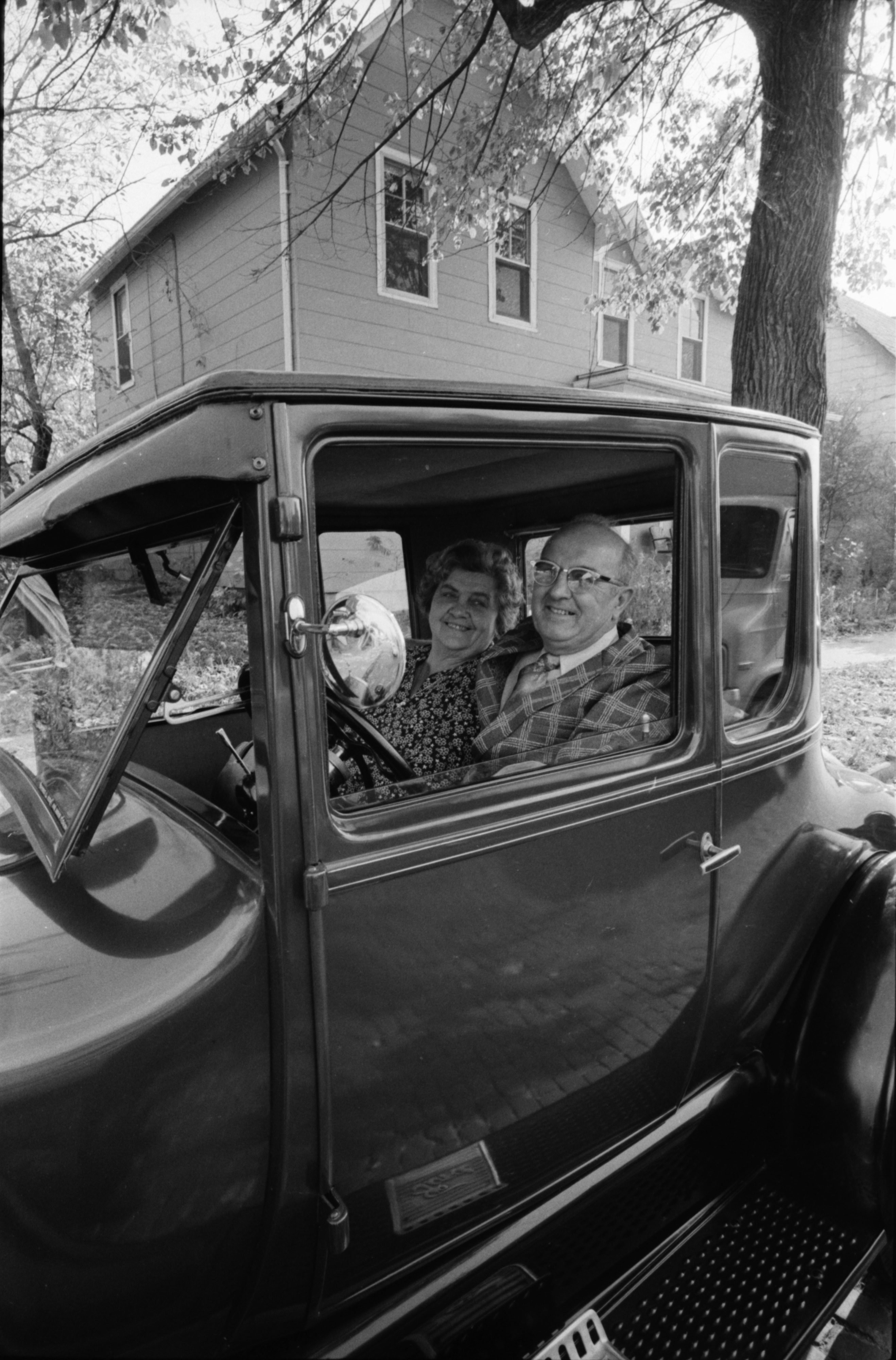 Ray and Bernice Koch in Ford Model T on Detroit Street, October 1975 image