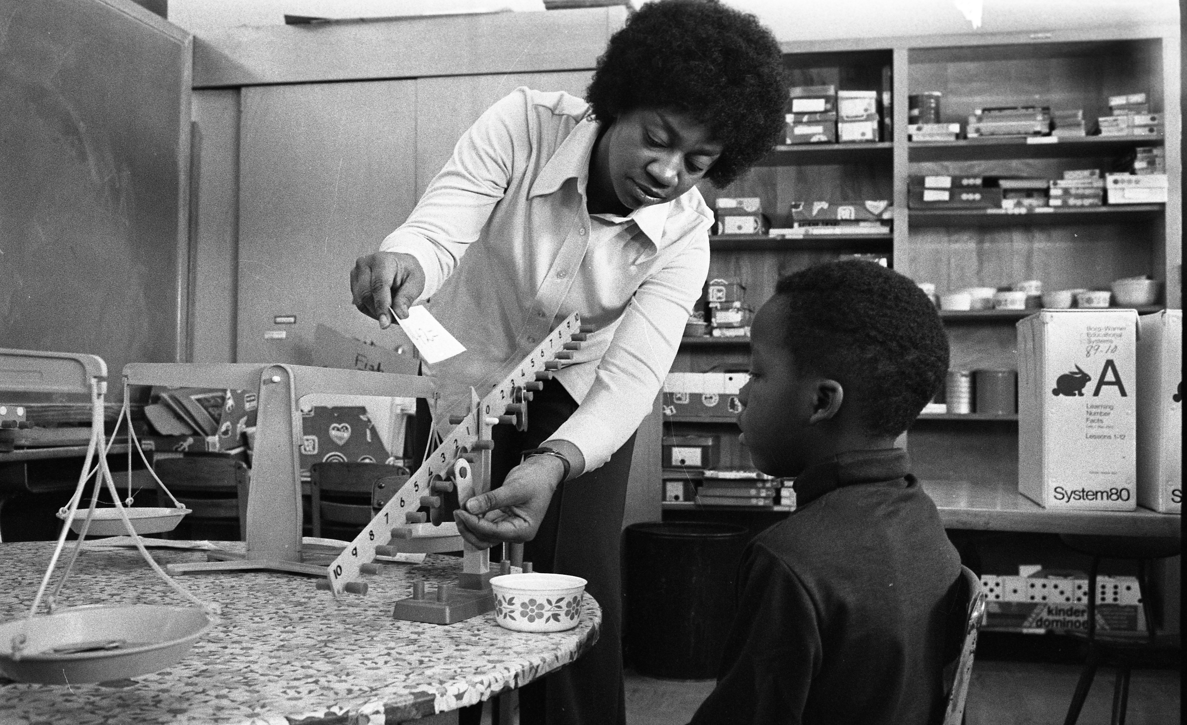 Weights and Scales Lesson at Perry School, Ypsilanti, January 1976 image