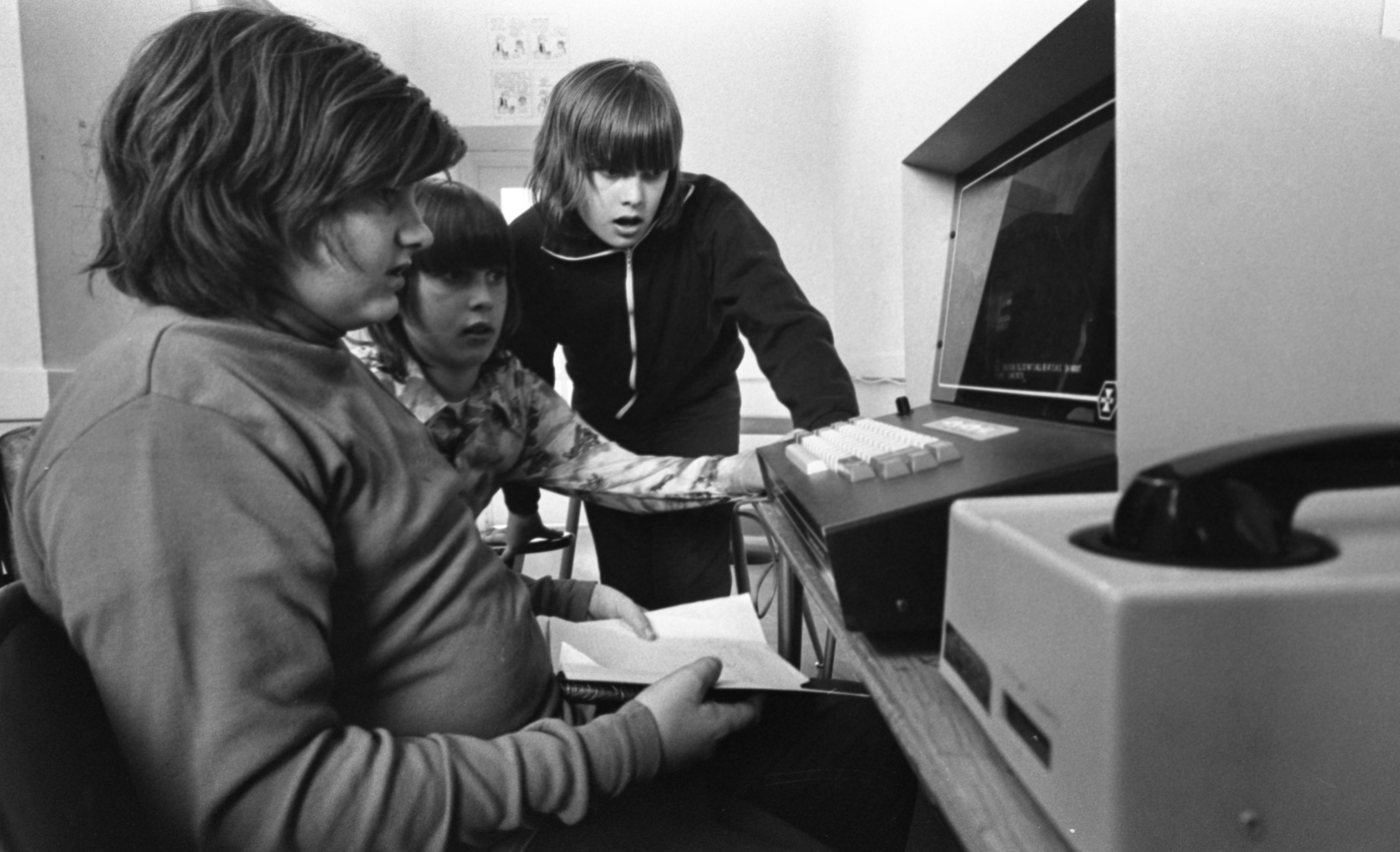 Middle Schoolers Jerry Bush, John Mayleben, & Jim Mayleben, Attend After-School Computer Class At Community High School, March 1976 image