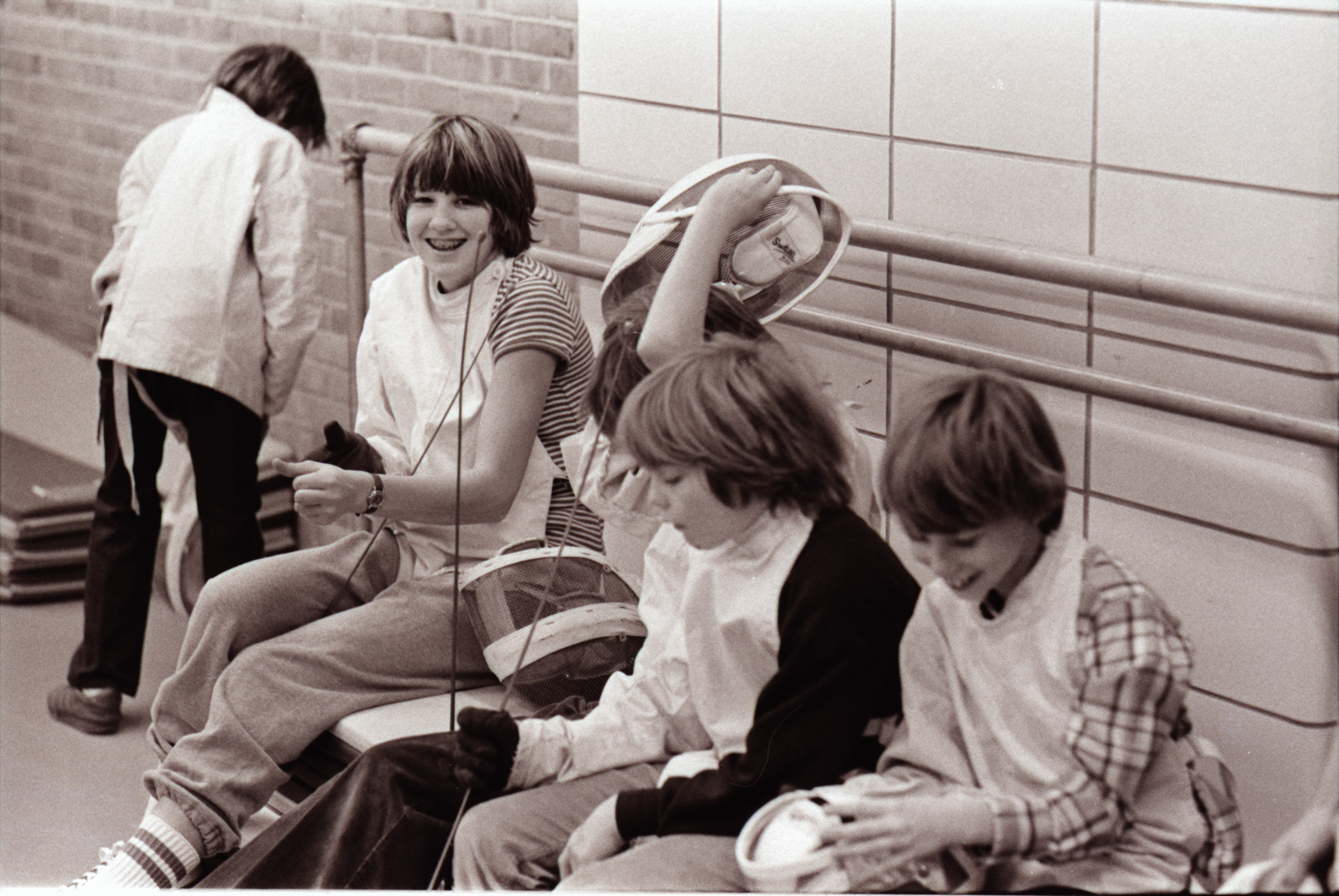Students at Fencing Class, Ann Arbor Y, December 1976 image