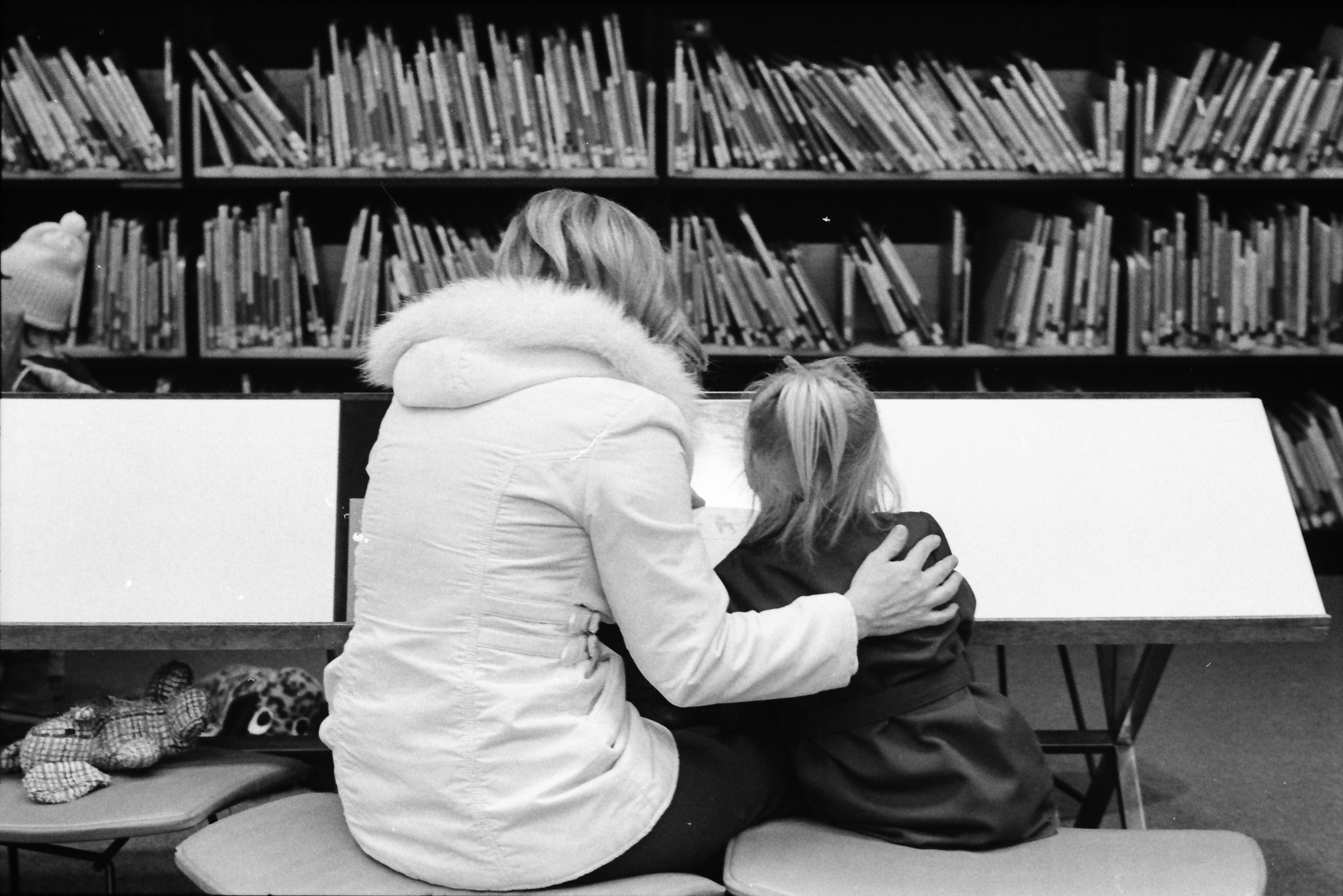 Mother and Daughter Share Quiet Time at the Ann Arbor Public Library, March 1977 image