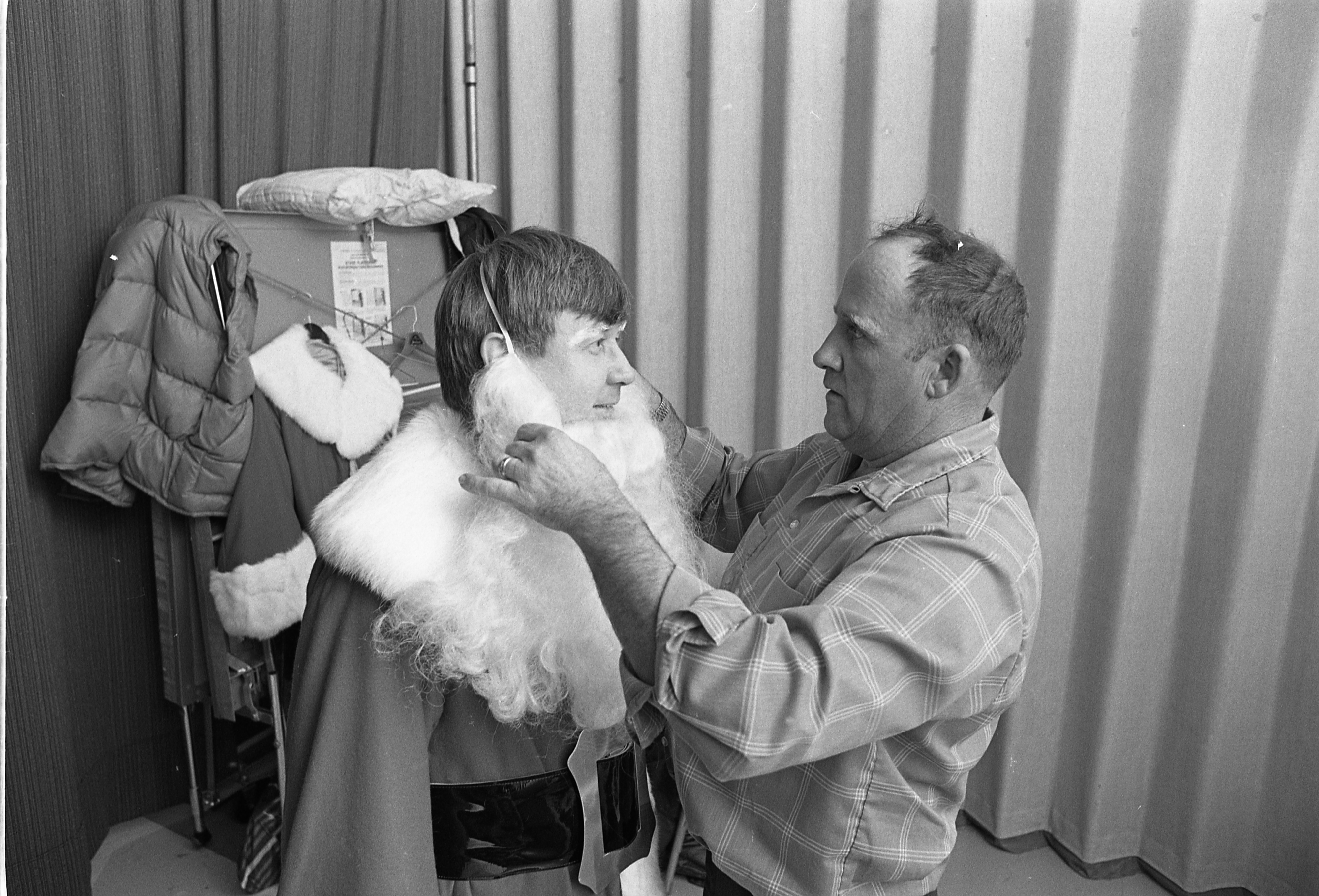 Jim Kane, Ann Arbor News Reporter, Getting Ready To Play Santa At Briarwood Mall, December 4, 1977 image