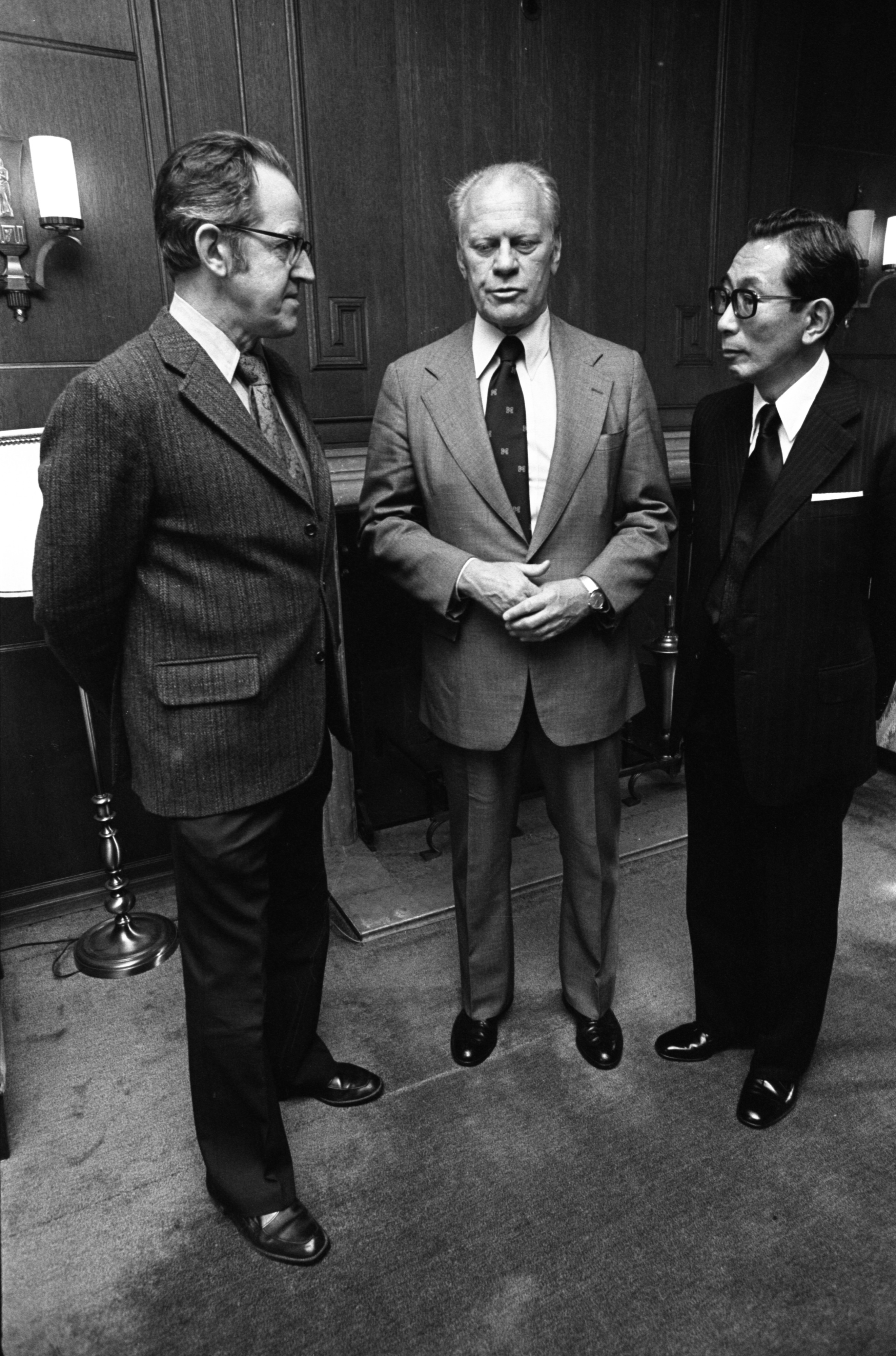 Gerald Ford With Japanese Ambassador To The U.S., Fumihiko Togo, & U-M Professor Richard Beardsley, September 1977 image