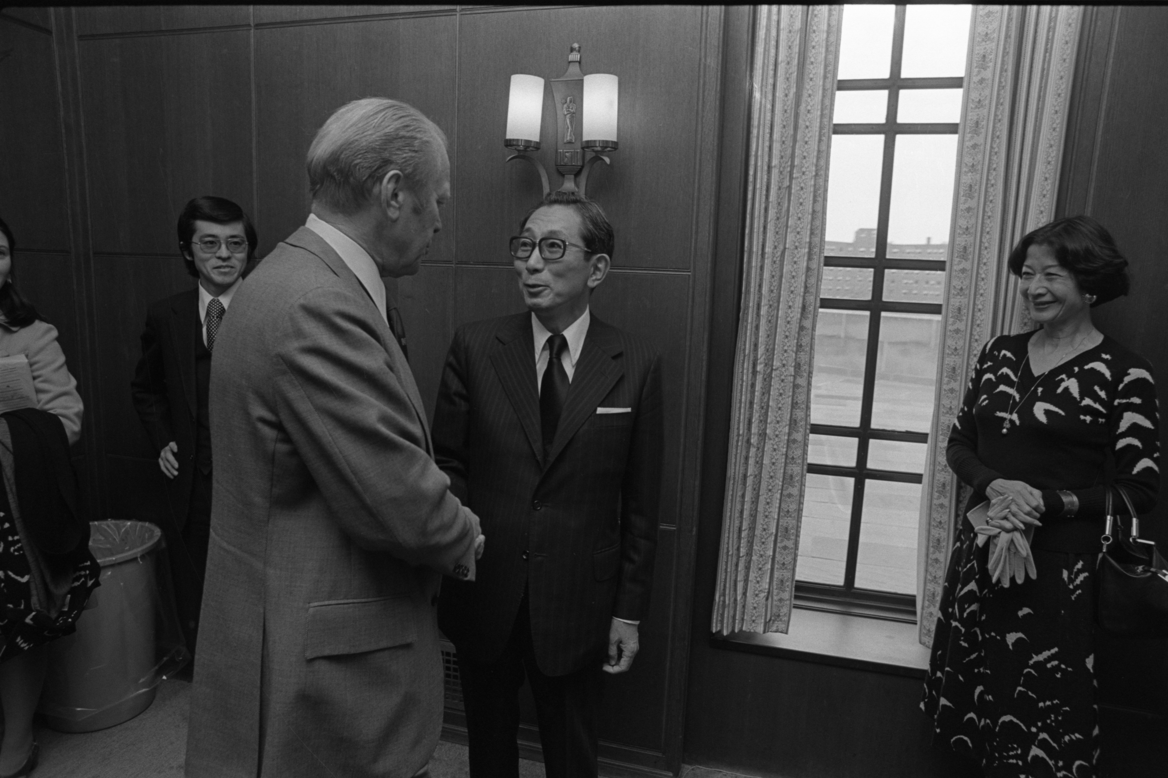Gerald Ford Meets Japanese Ambassador To The U.S., Fumihiko Togo & His Wife, Ise, September 1977 image