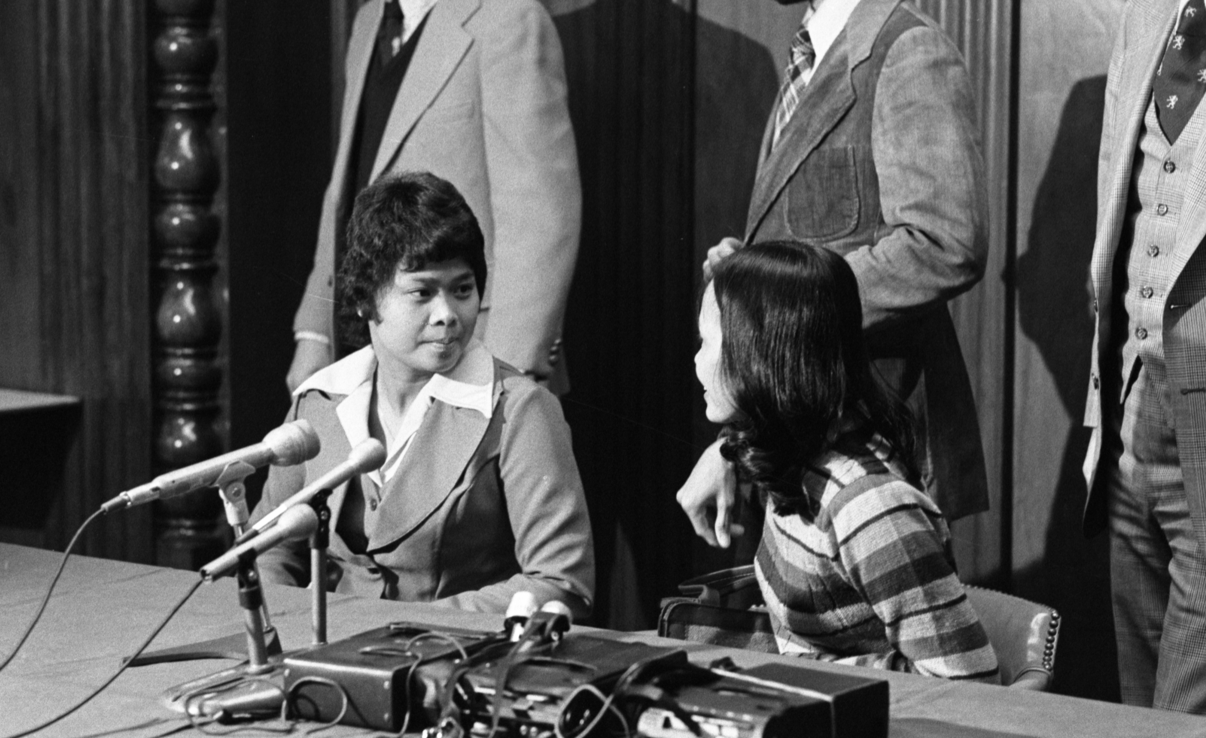 Filipina Narciso & Leonora Perez At Press Conference After Charges Dismissed, Detroit, February 1978 image