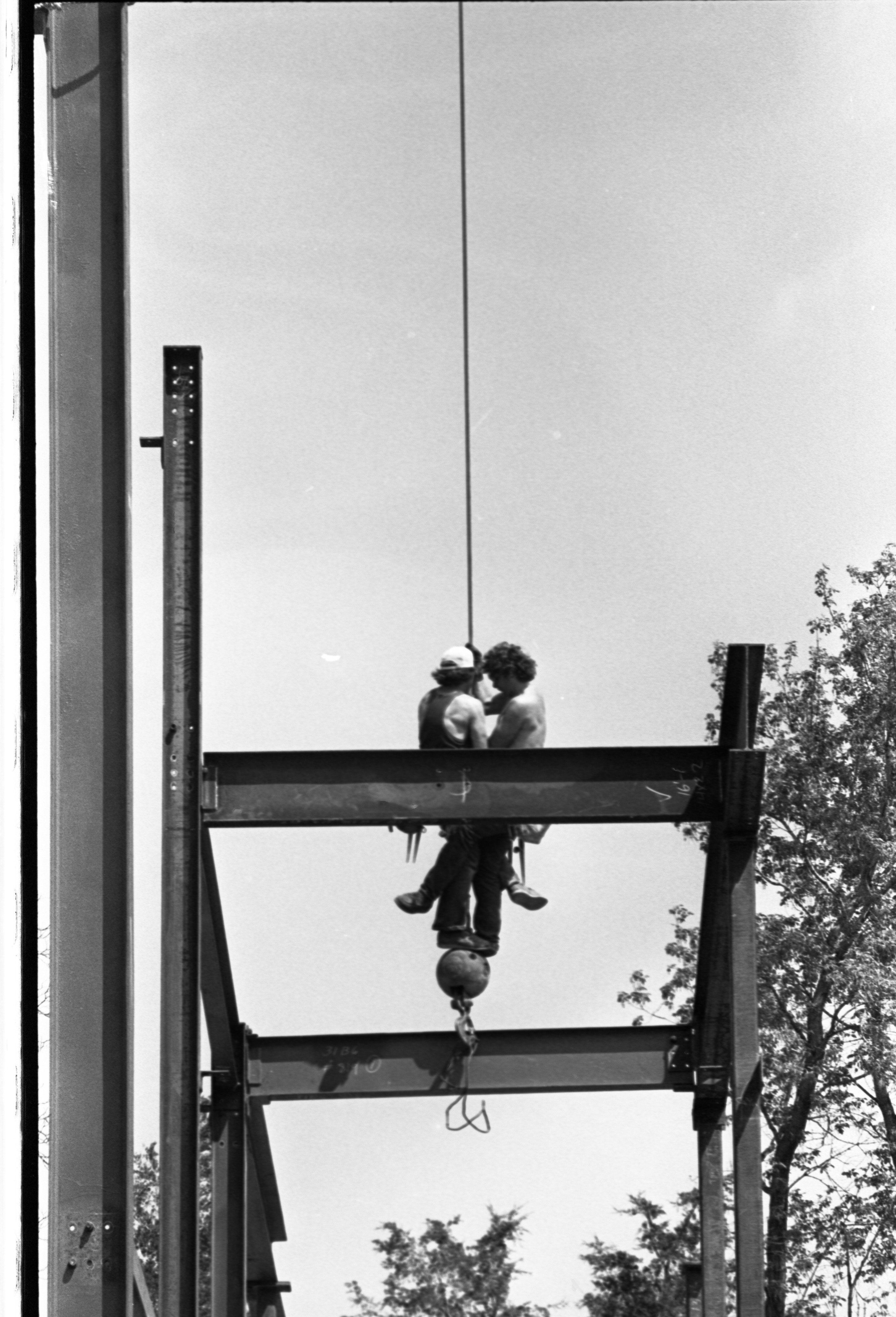 Construction Workers On Crane For Steel Work On The Gerald R. Ford Presidential Library, May 11, 1979 image