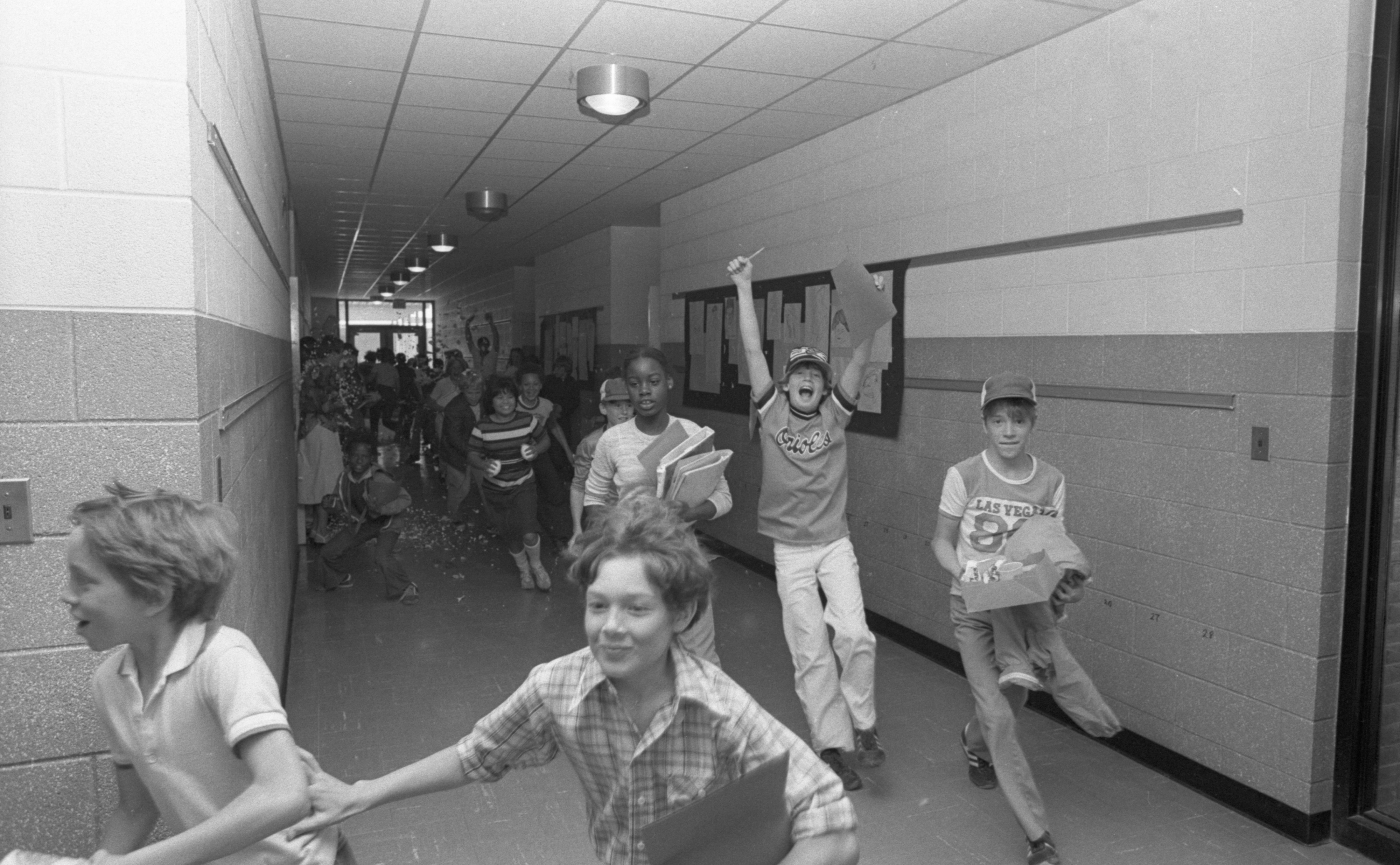 Image from Students Leave Stone School On Last Day Of School Year, June 1980