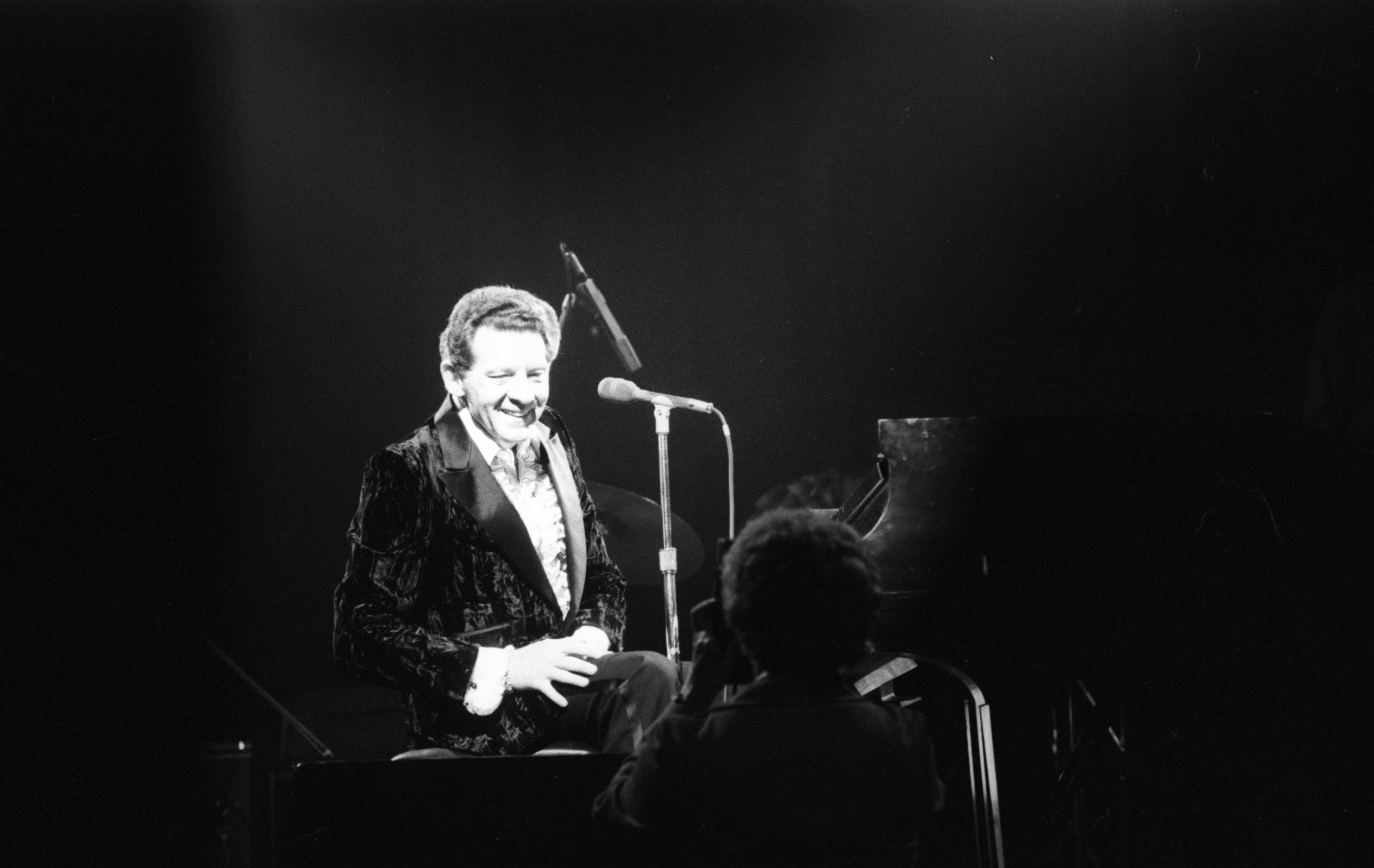 Jerry Lee Lewis Smiles For Camera While Performing At The Second Chance Club, February 3, 1981 image
