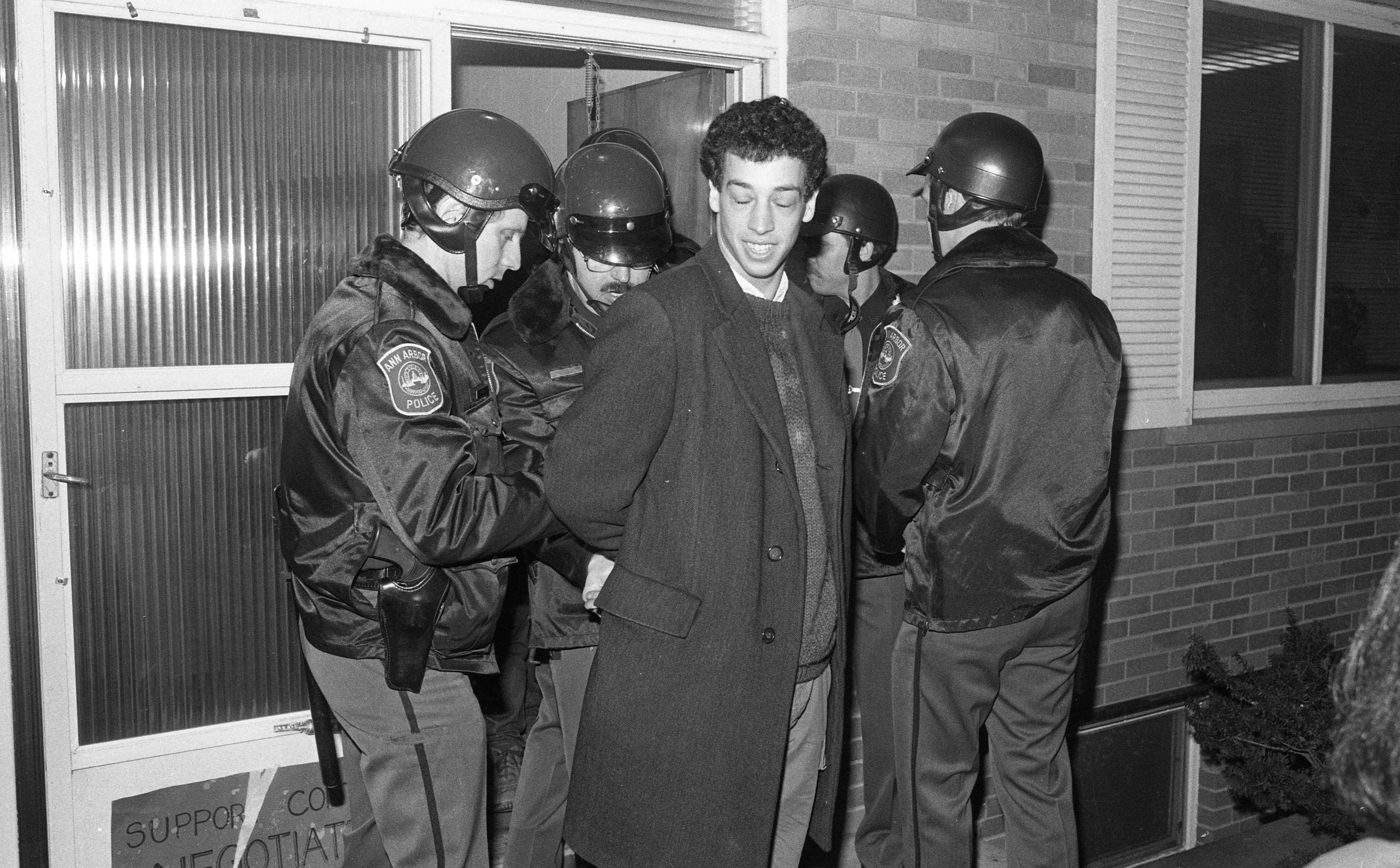Ann Arbor Police Arrest Protesters at U.S. Rep. Carl Pursell's Office, March 1986 image