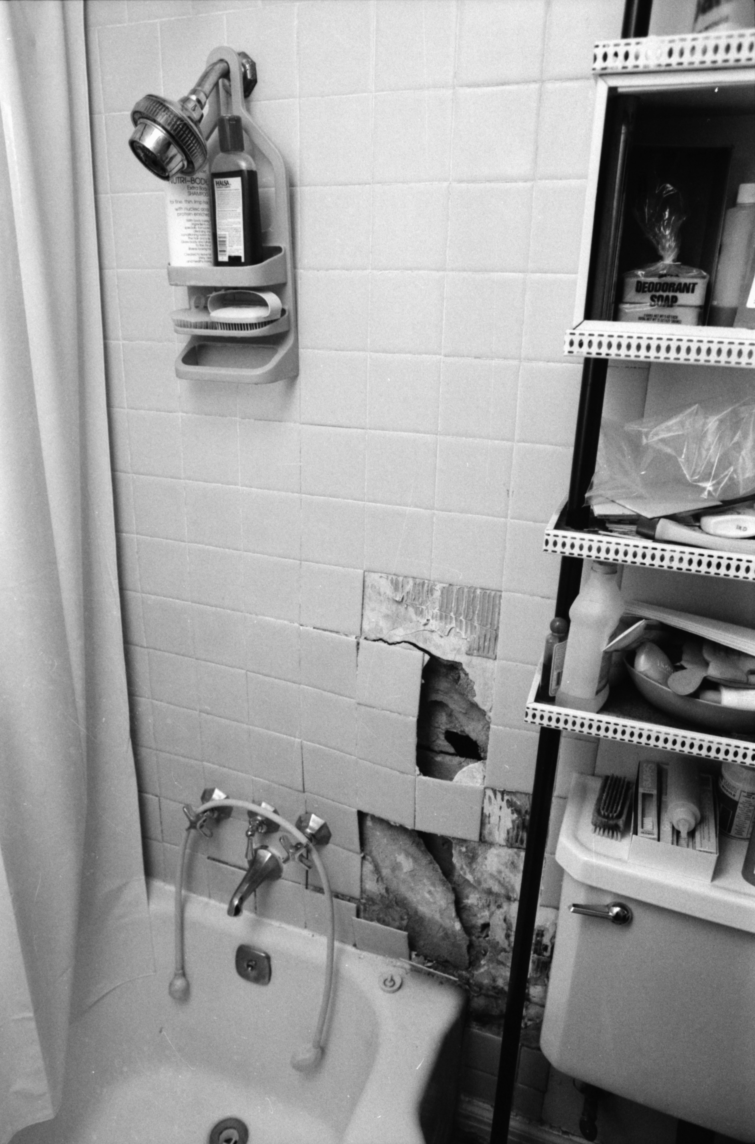 Interior View of Pittsfield Village Showing Damage to Shower, July 1986 image