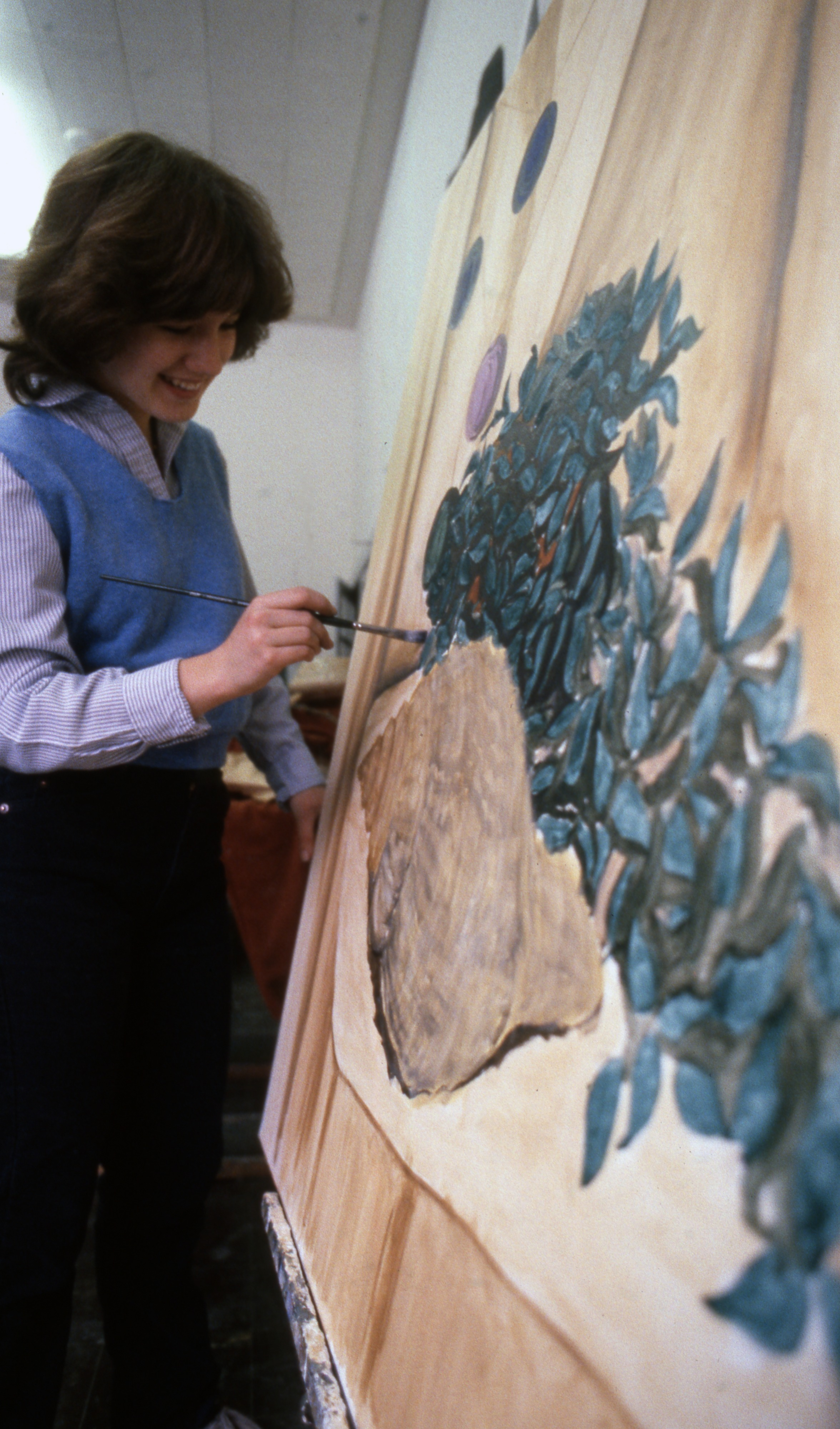 A Student Paints In A Community High School Art Class, March 1984 image