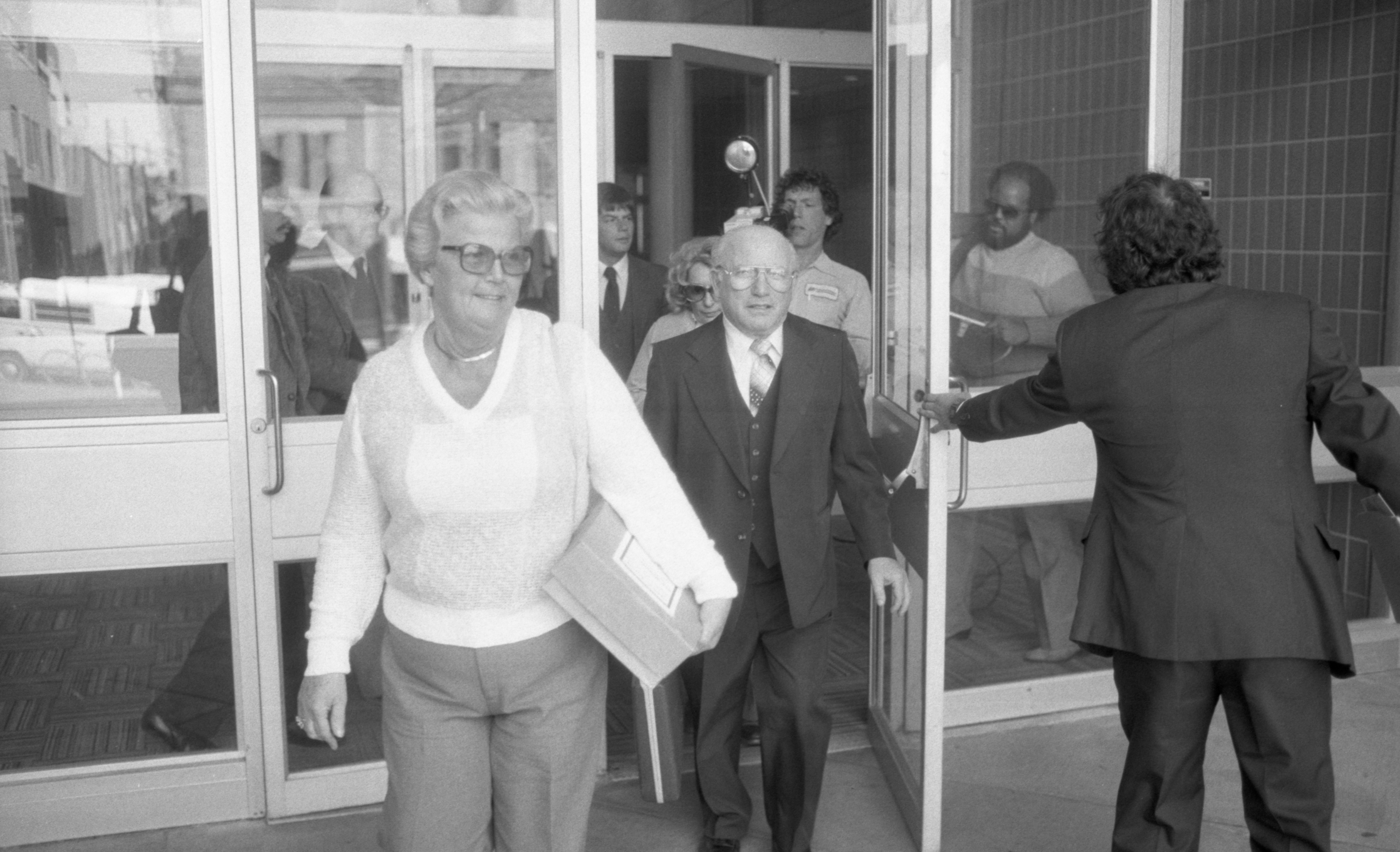 Ike & Margarethe Kozminski Leave Court After Sentencing, April 1984 image