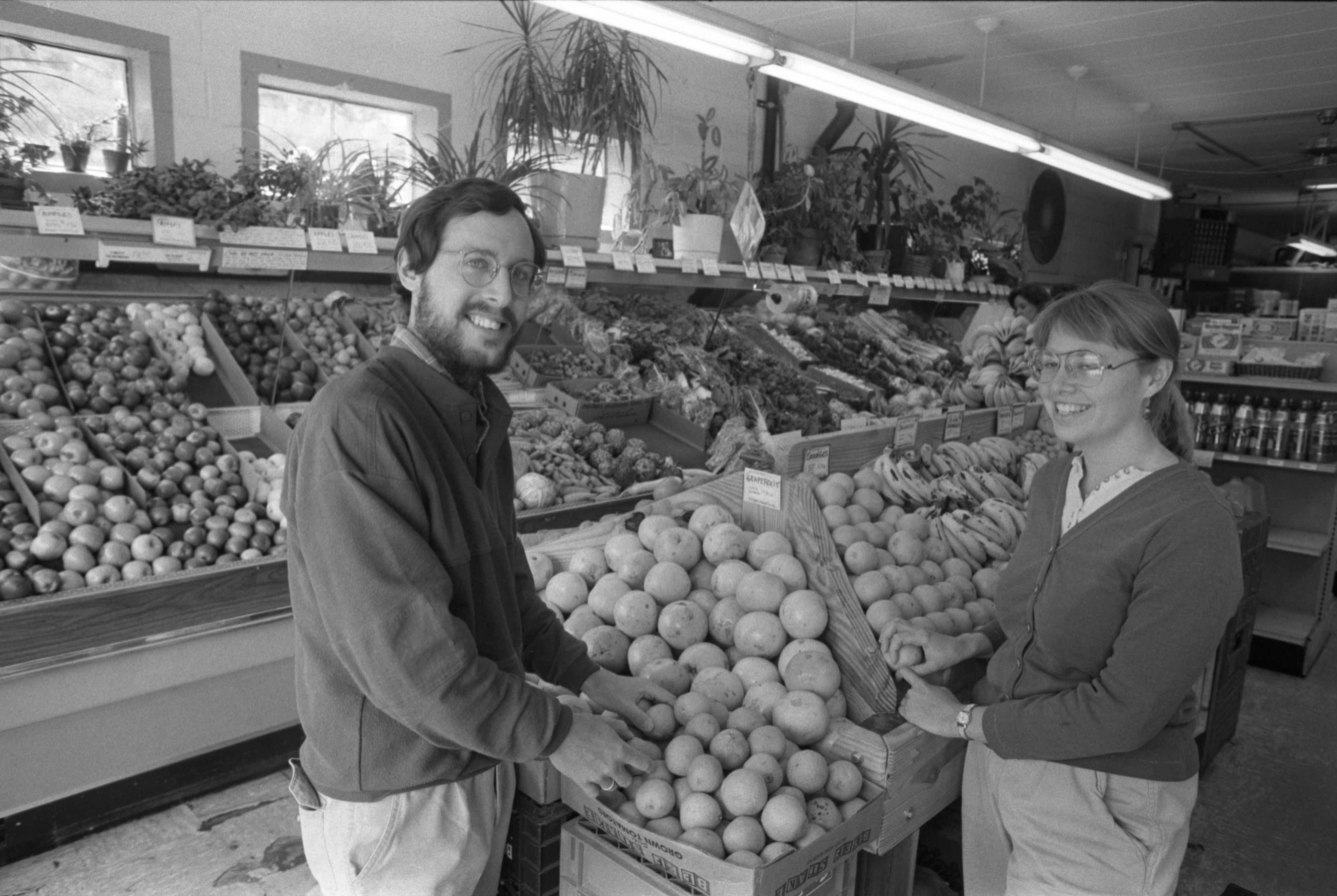 David Blackburn & Ruth Ransom, Managers At The People's Food Co-Op On Packard Road, April 16, 1989 image