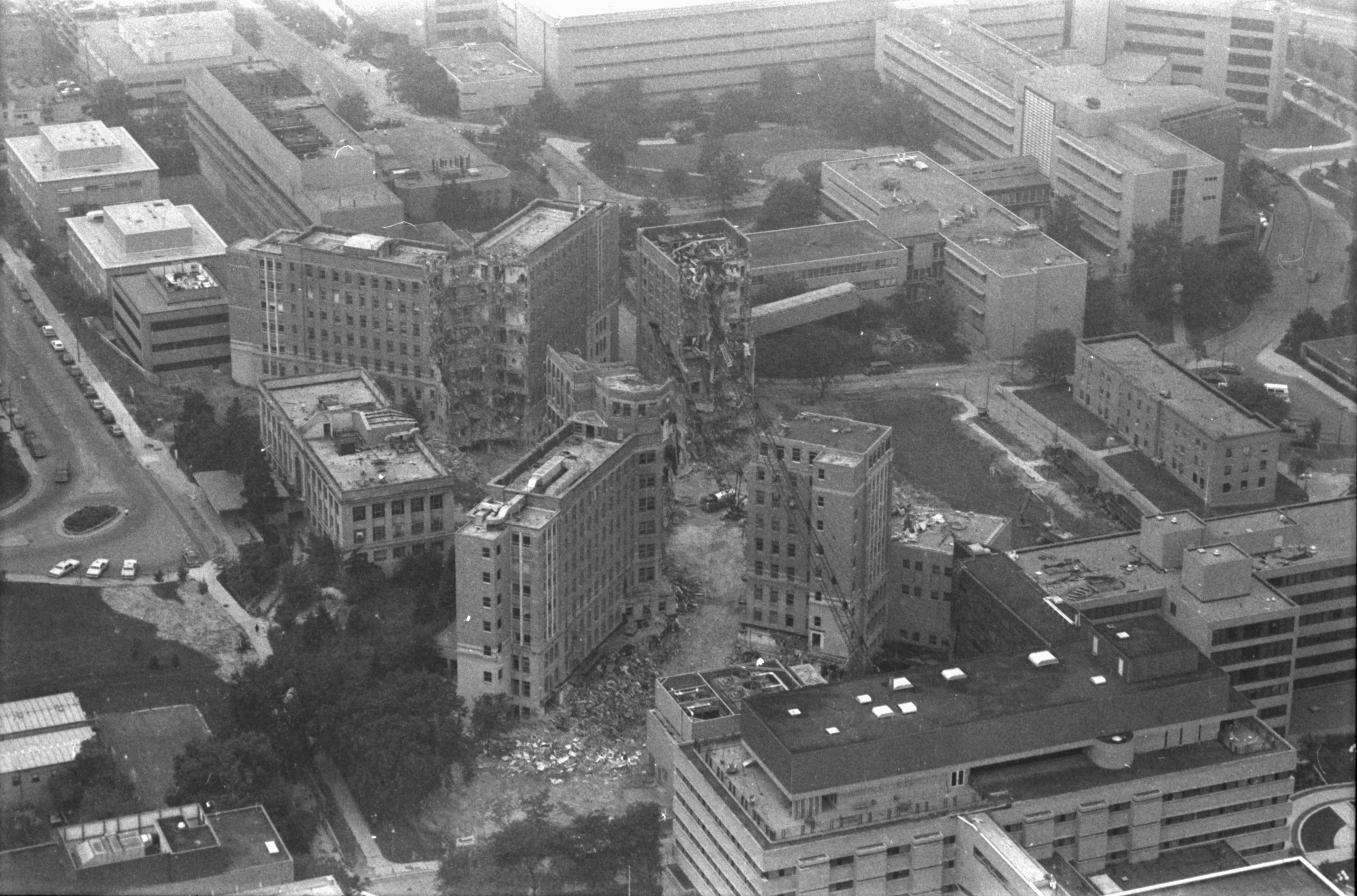 Aerial Photograph of University Hospital Demolition, July 1989 image
