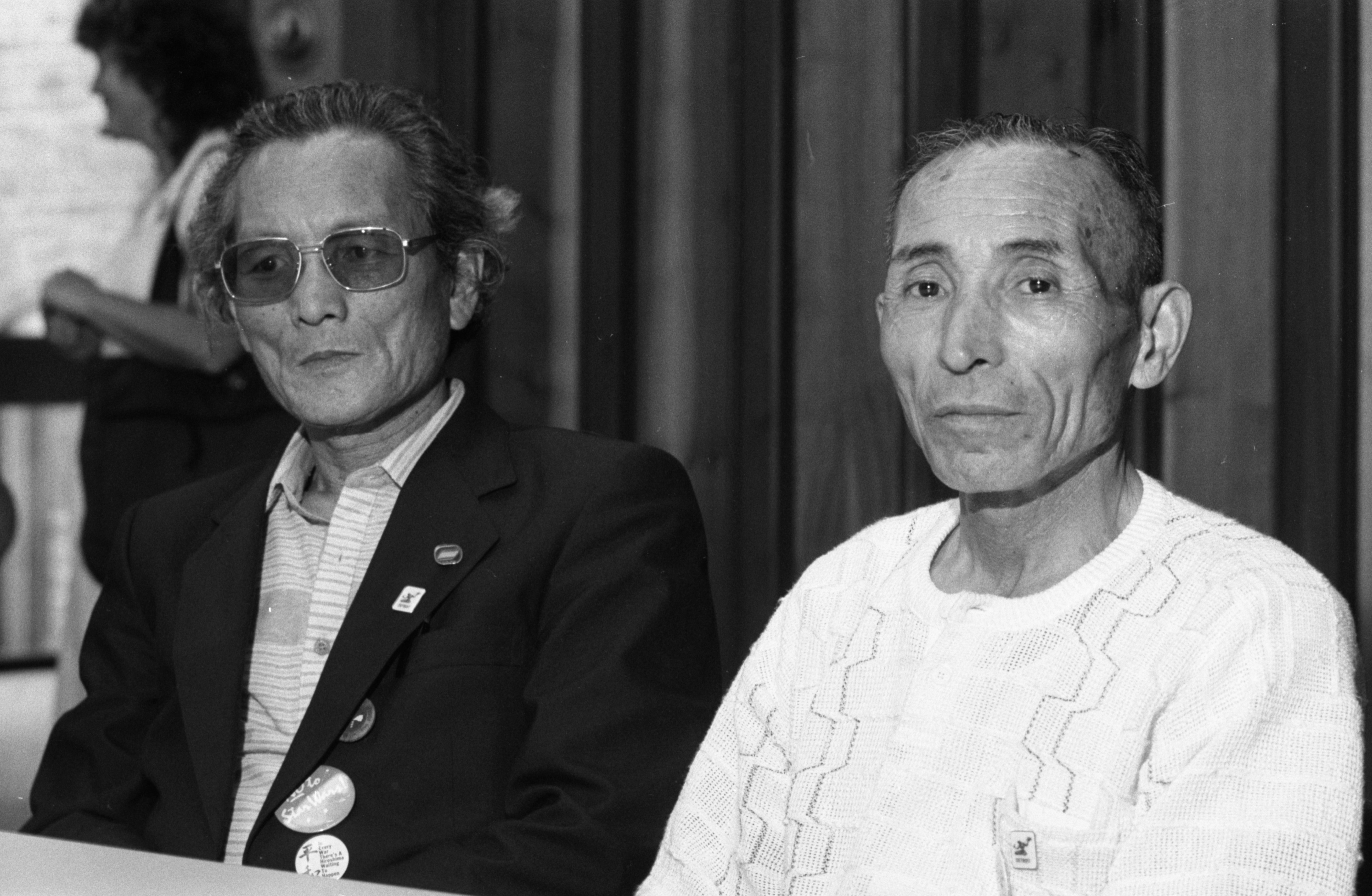 Akito Asano (left) & Koji Ando, Survivors Of Hiroshima, At A Speaking Engagement In Ann Arbor, July 28, 1985 image