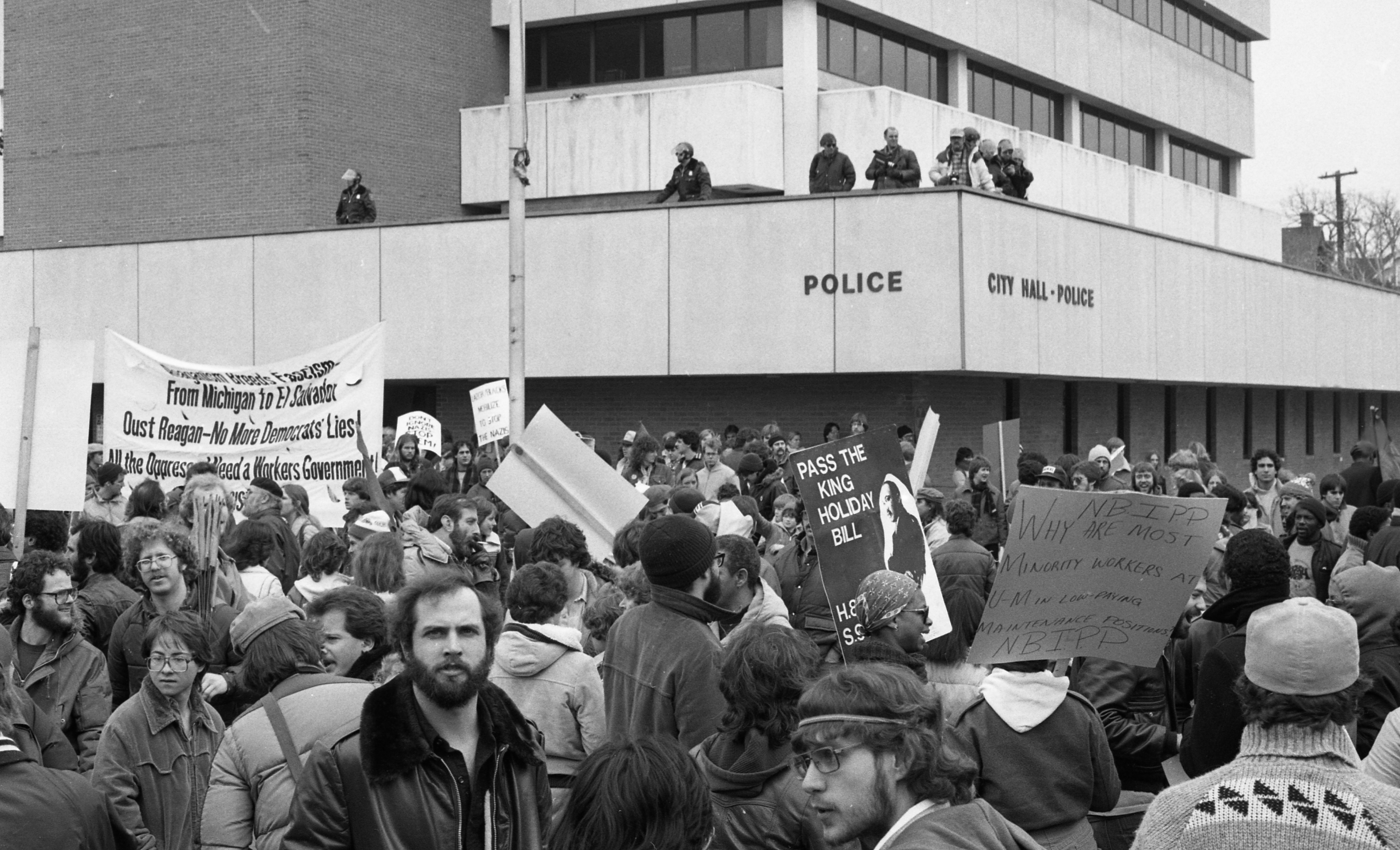 Ann Arbor Police Atop City Hall at Neo-Nazi March and Counter-Demonstrations, March 1982 image