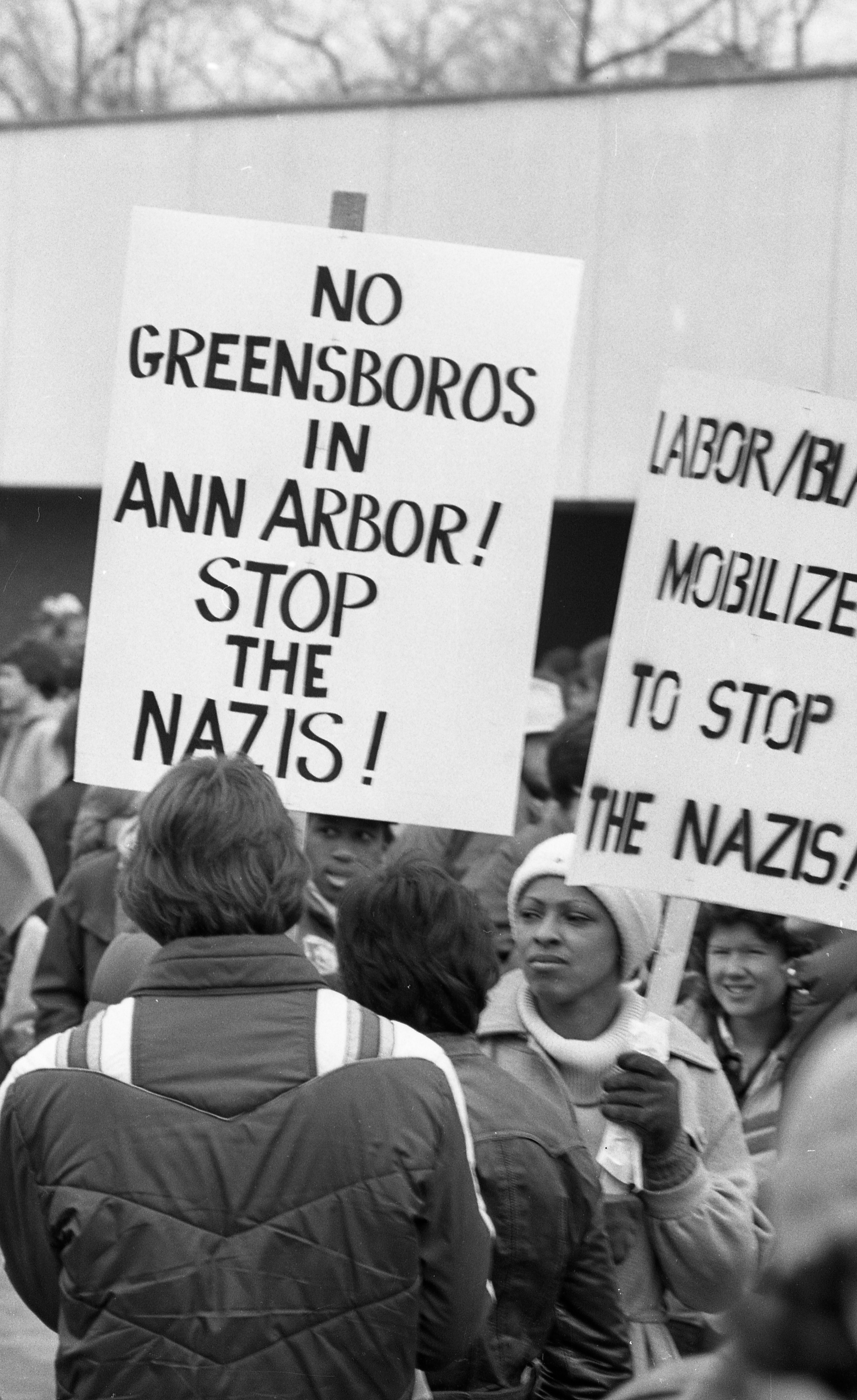 Picket Signs at Neo-Nazi March and Counter-Demonstrations at Federal Building, March 1982 image
