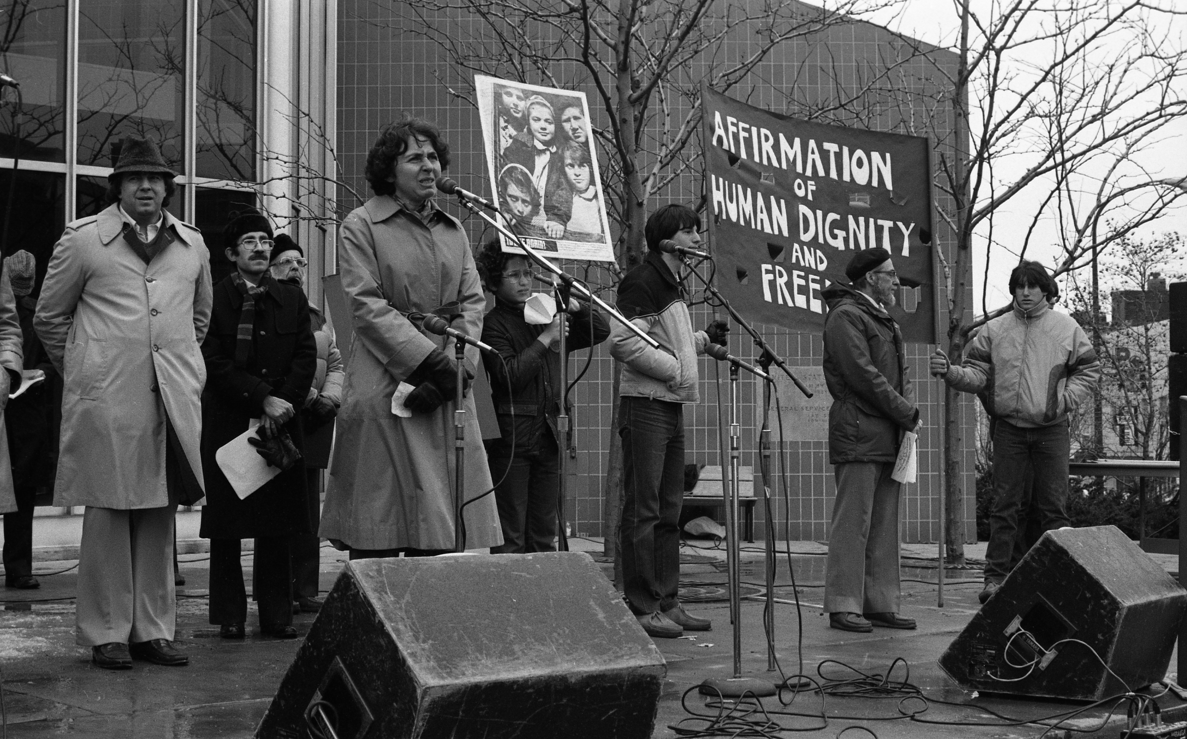 Elaine Pitt of Jewish Community Council Speaks at Neo-Nazi Counter-Demonstrations at Federal Building, March 1982 image