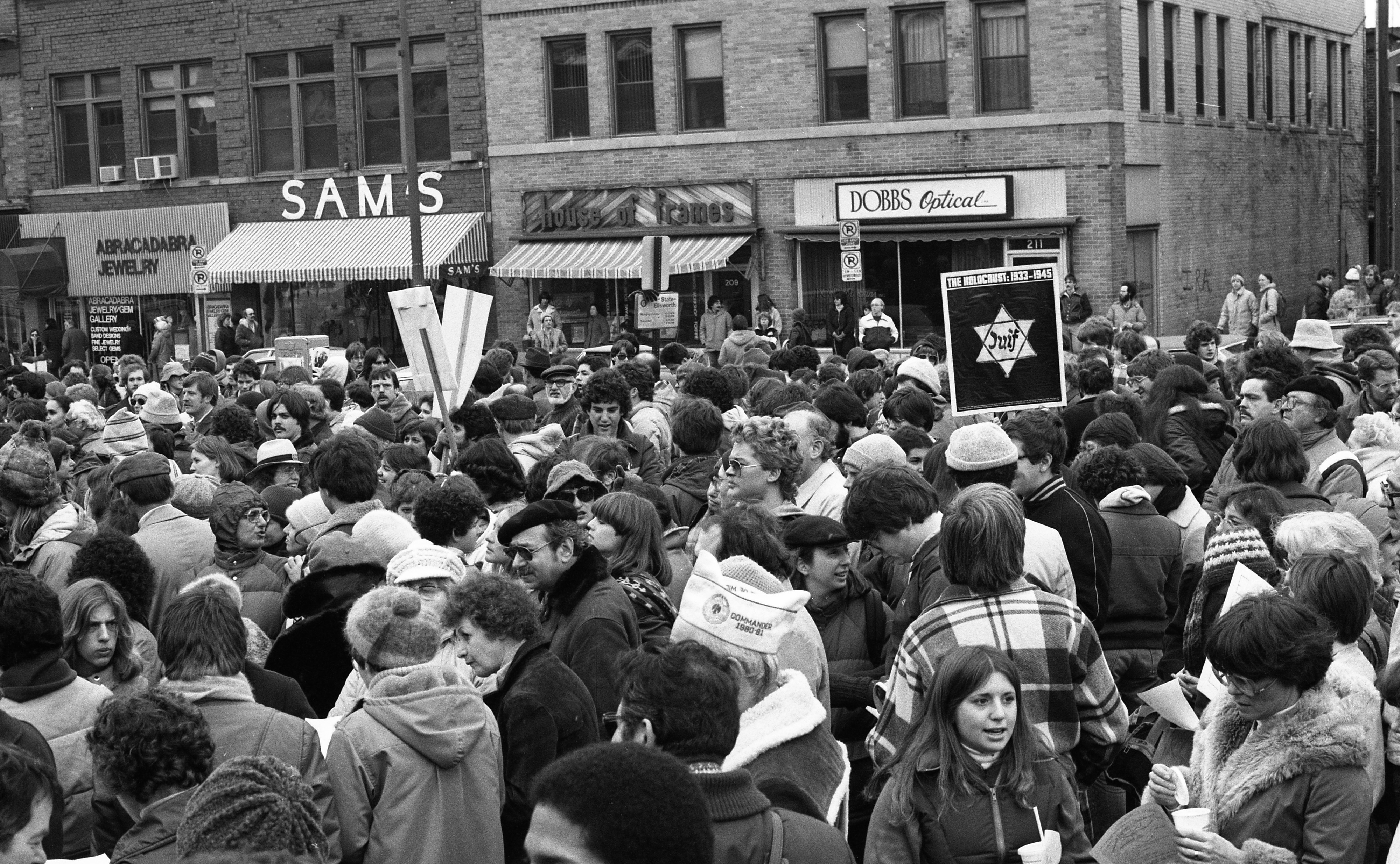 Neo-Nazi March Counter-Demonstration Fills Liberty Street at Federal Building, March 1982 image