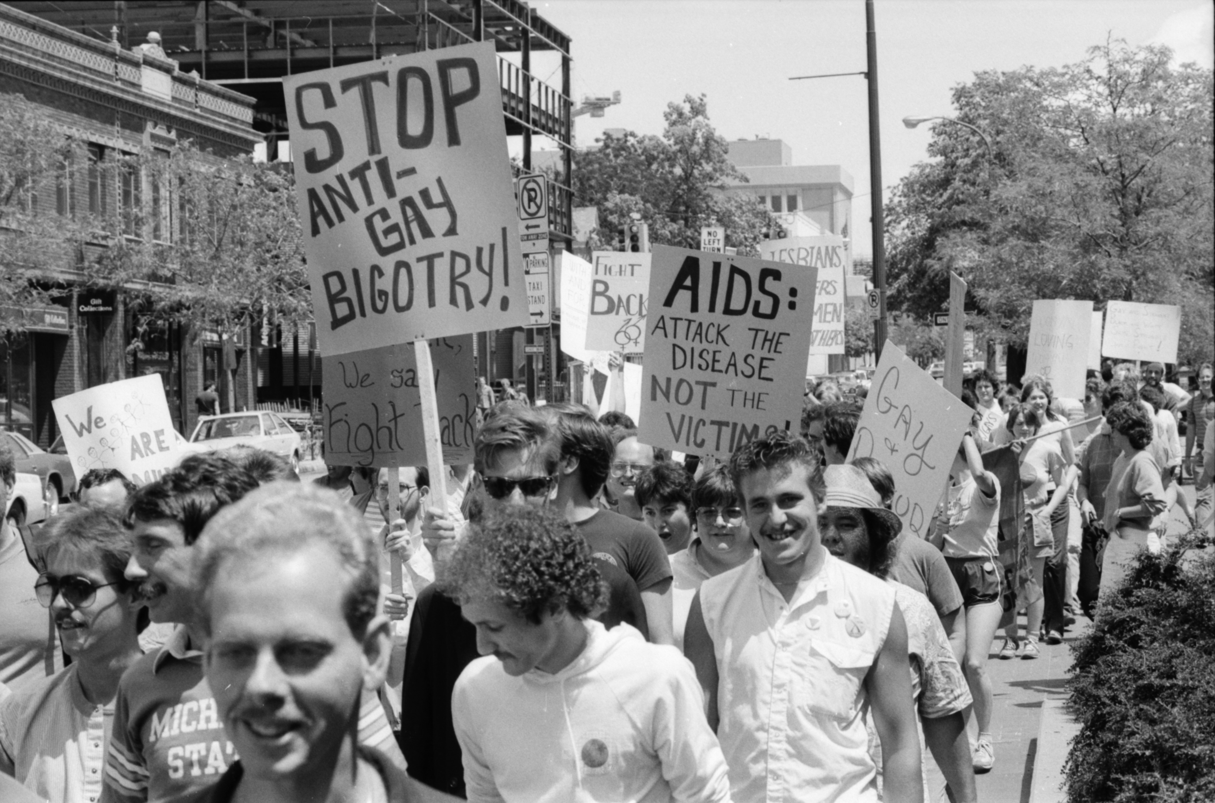 Gay Rights Activists March Downtown, June 1985 image