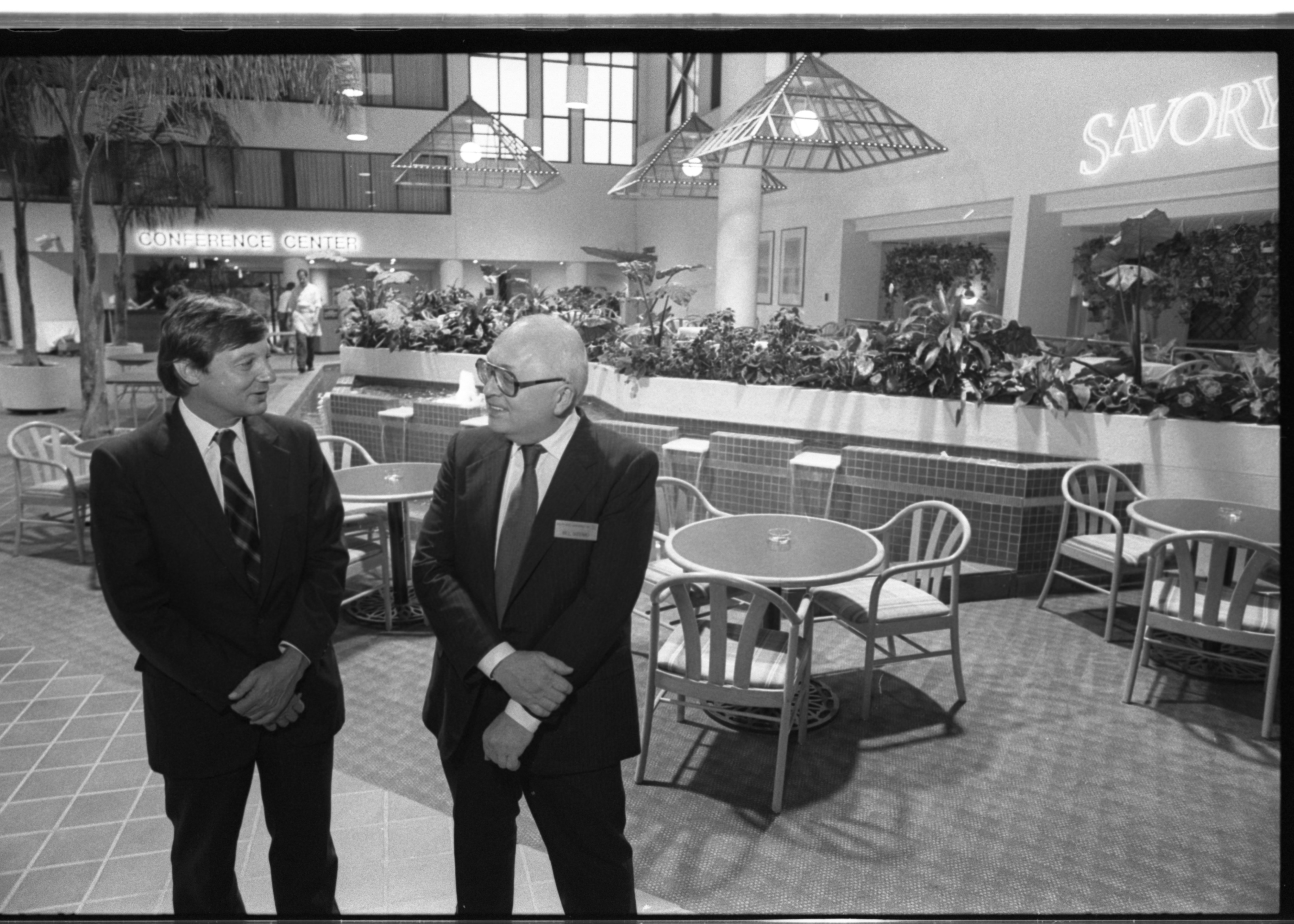 William Hobbs and William Gudenau at Holiday Inn Holidome Grand Opening, September 1986 image