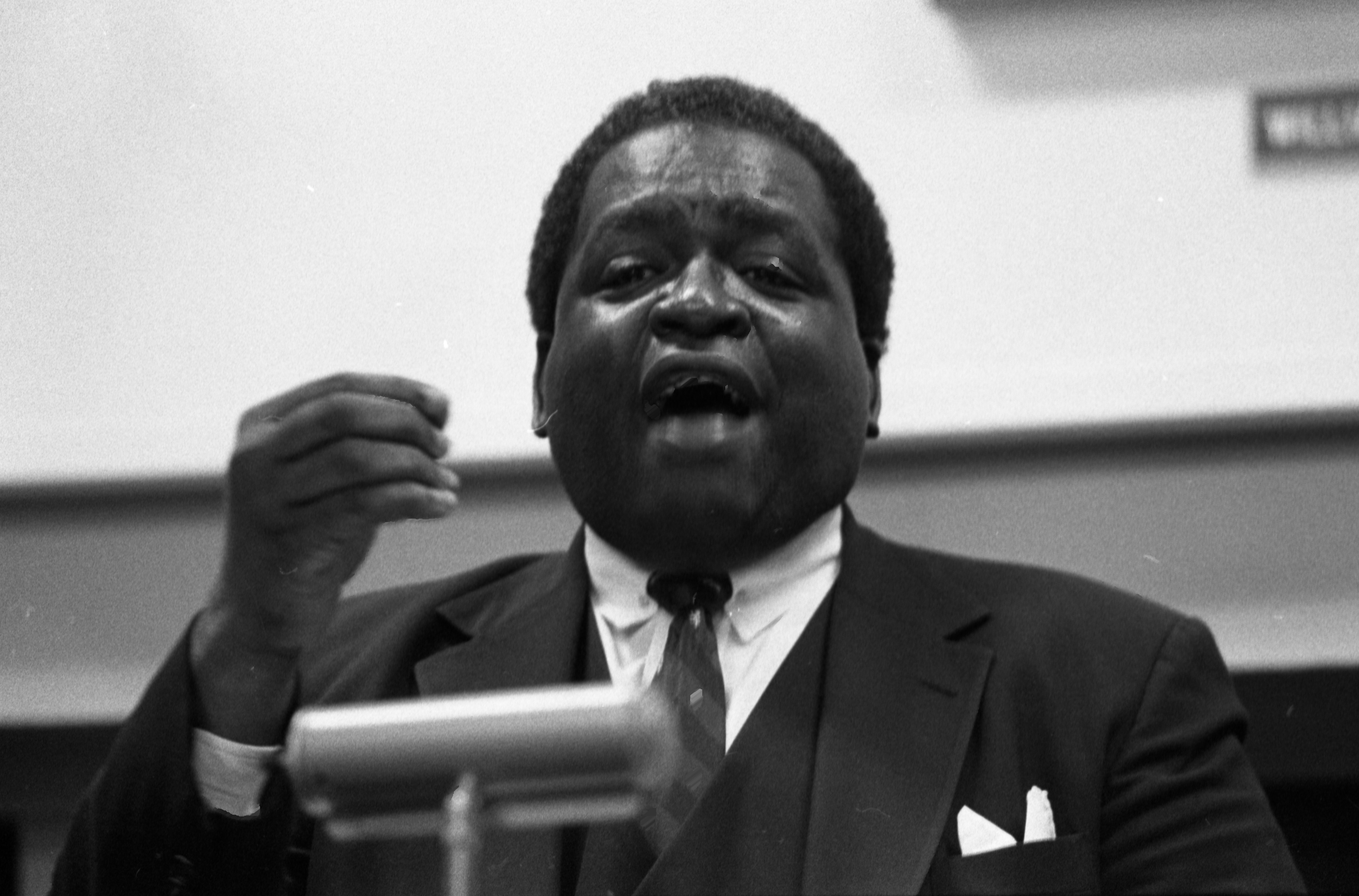 Rev. Richard Gilmore Gives Speech During Martin Luther King Jr Memoriam At Trotter House, January 18, 1986 image