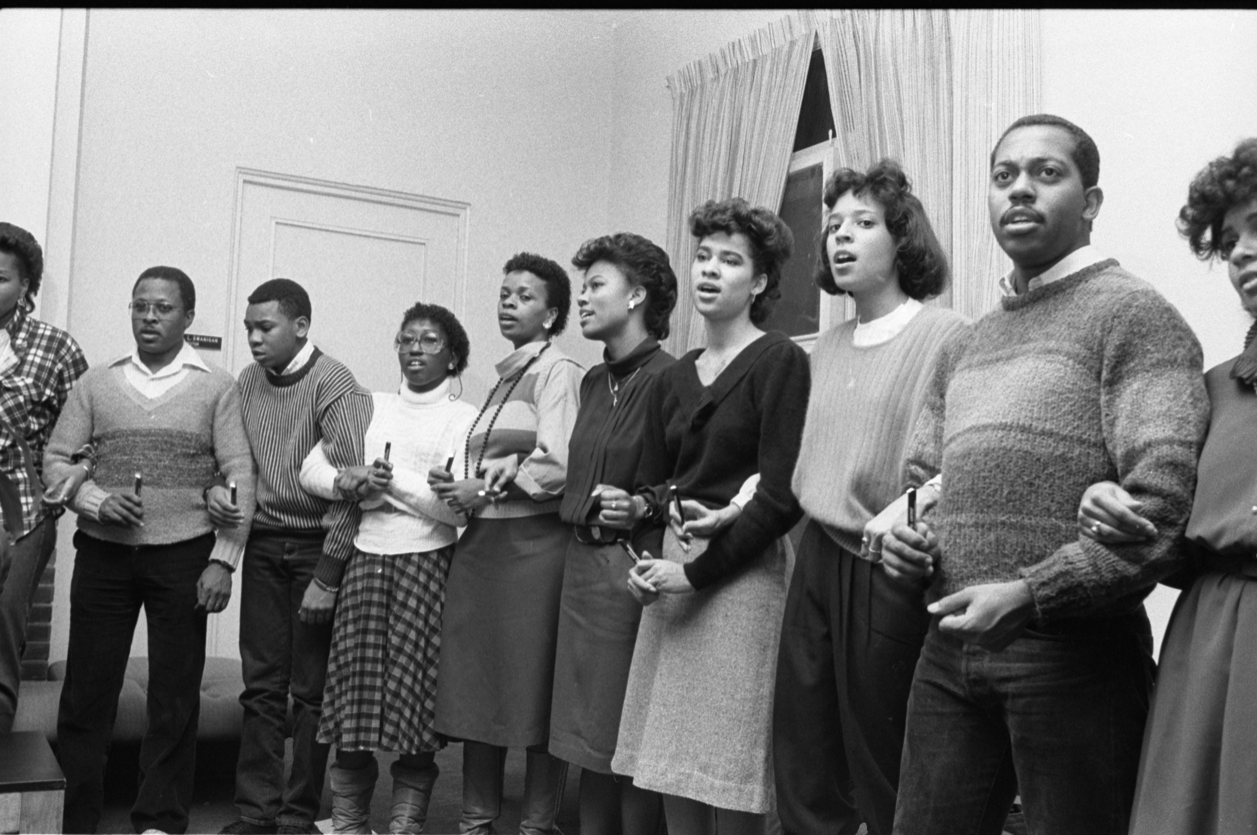 Participants Sing Together At The Martin Luther King Jr Memoriam At Trotter House, January 18, 1986 image