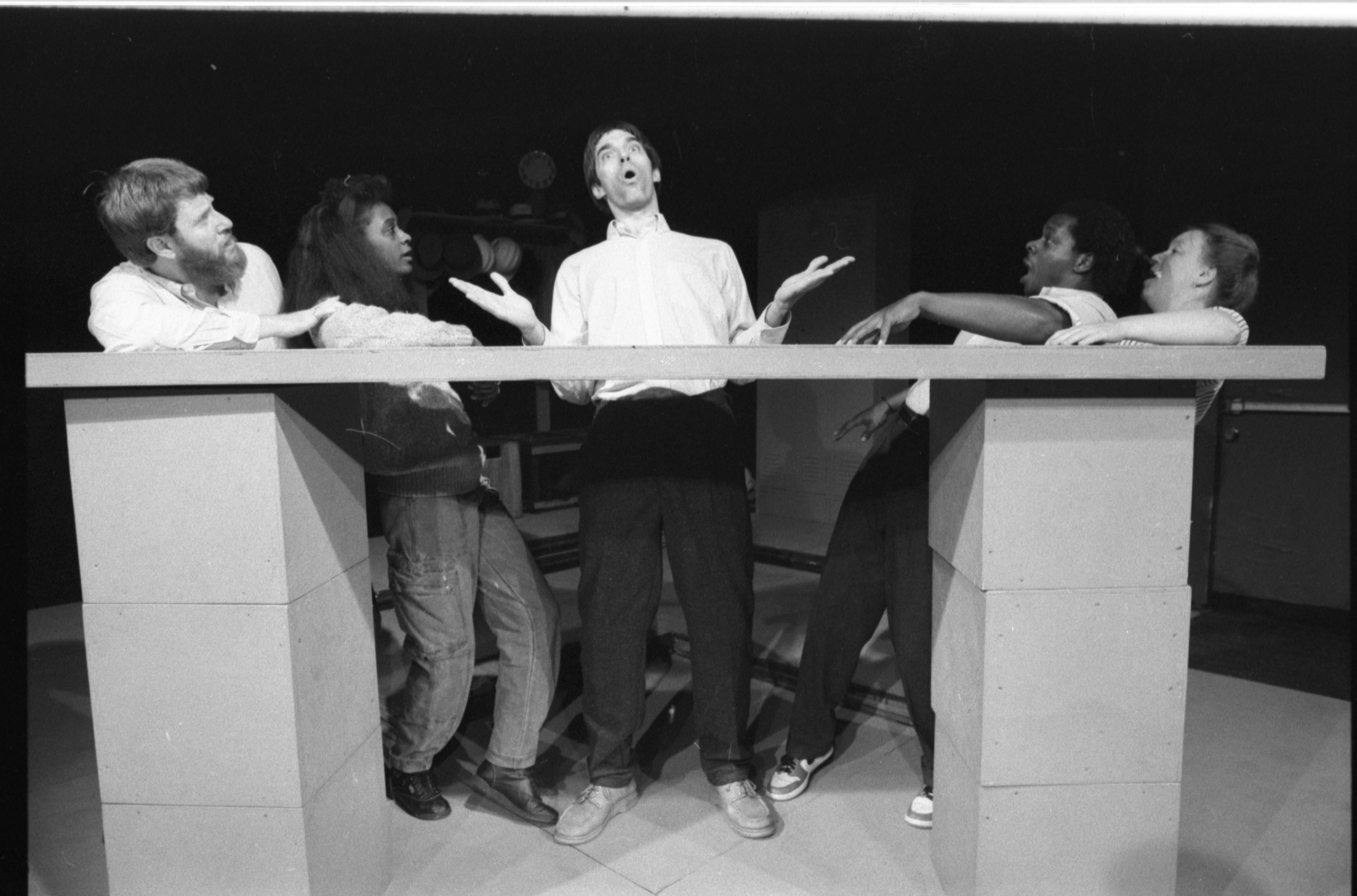 Perry Perrault's song attracts other cast members of 'Worksong,' October 1986 image