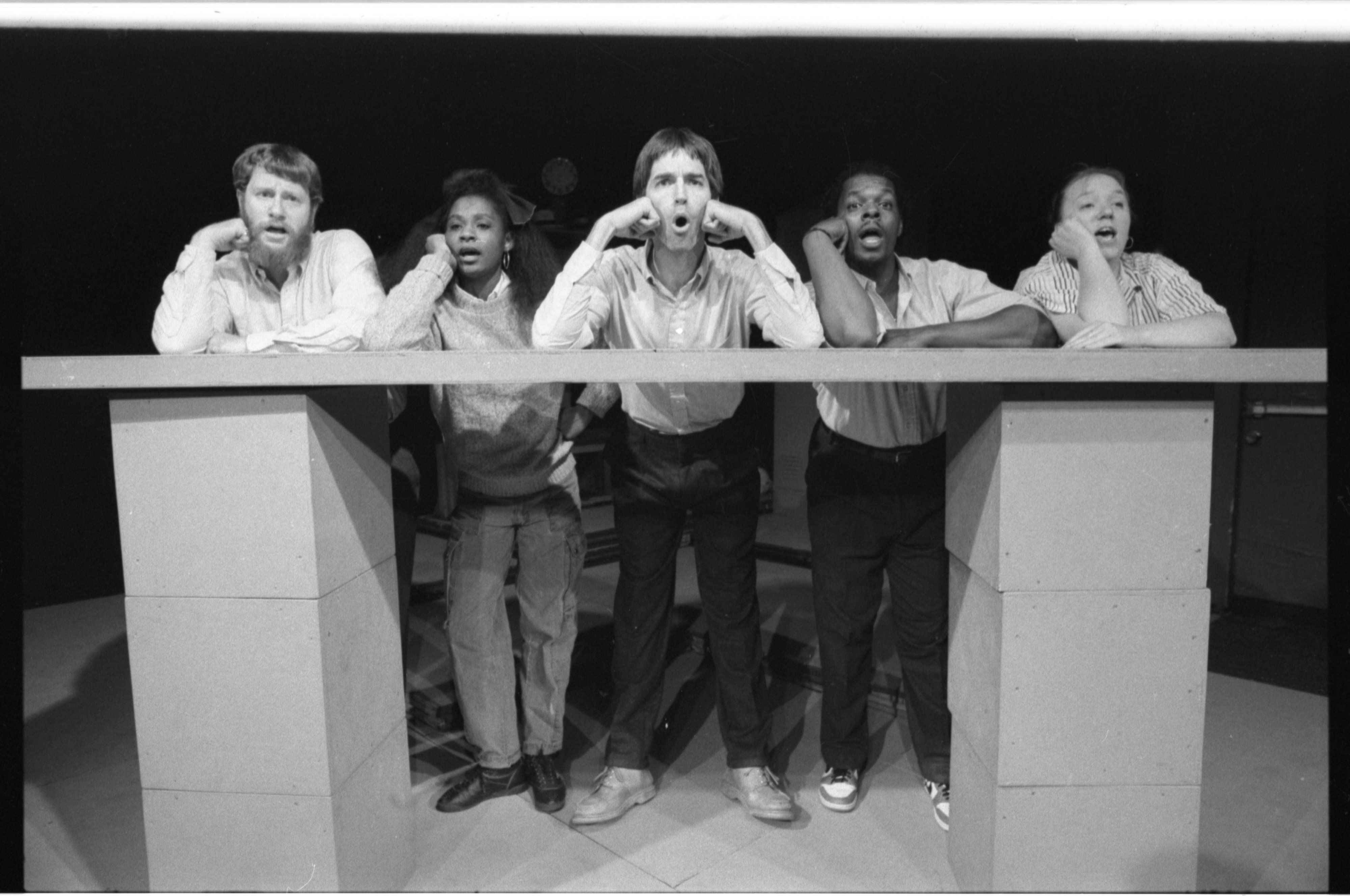 'Worksong' cast members' chorus talk about their situation, October 1986 image