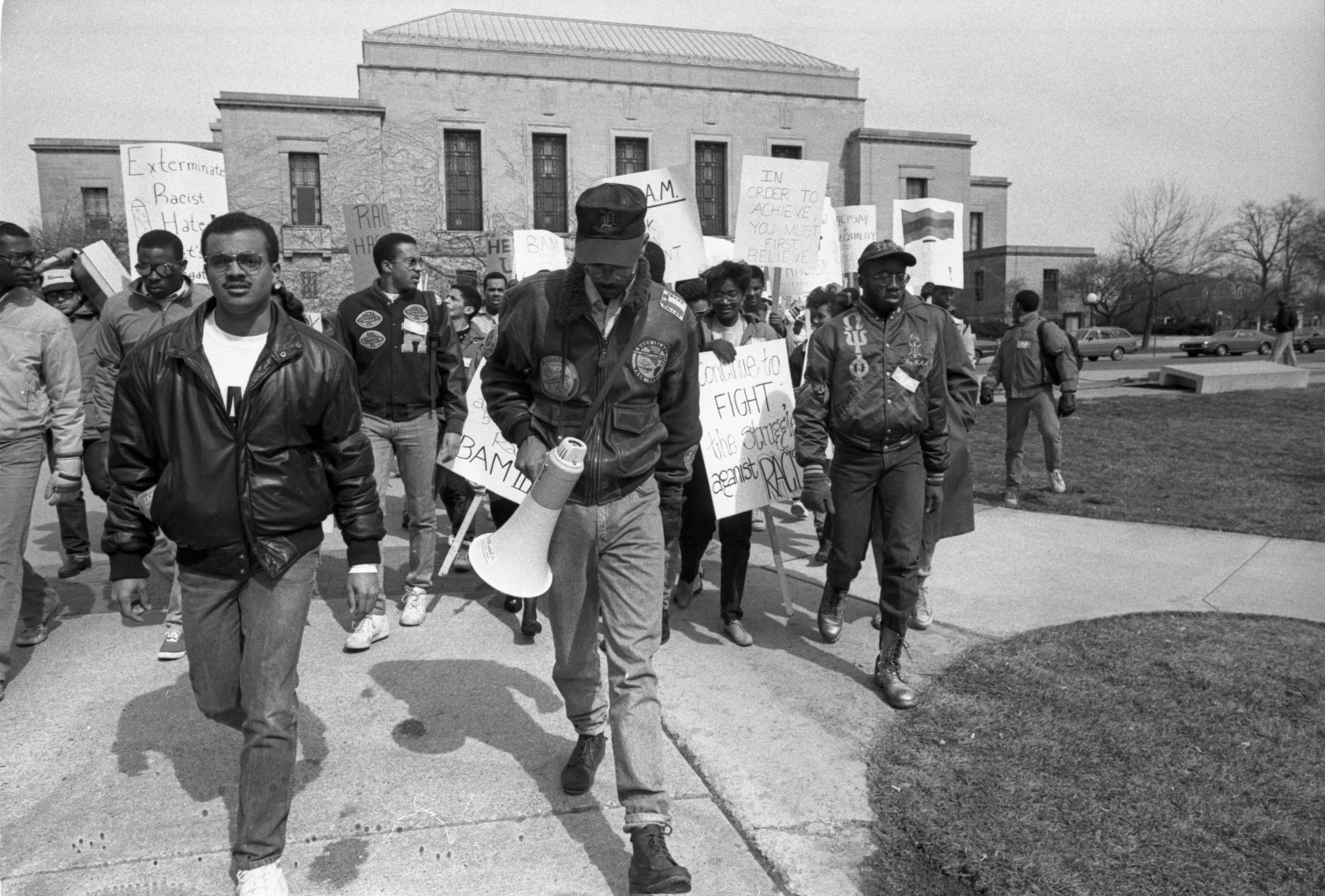 Black Action Movement III Protesters March From Rackham To The Diag, March 18, 1987 image