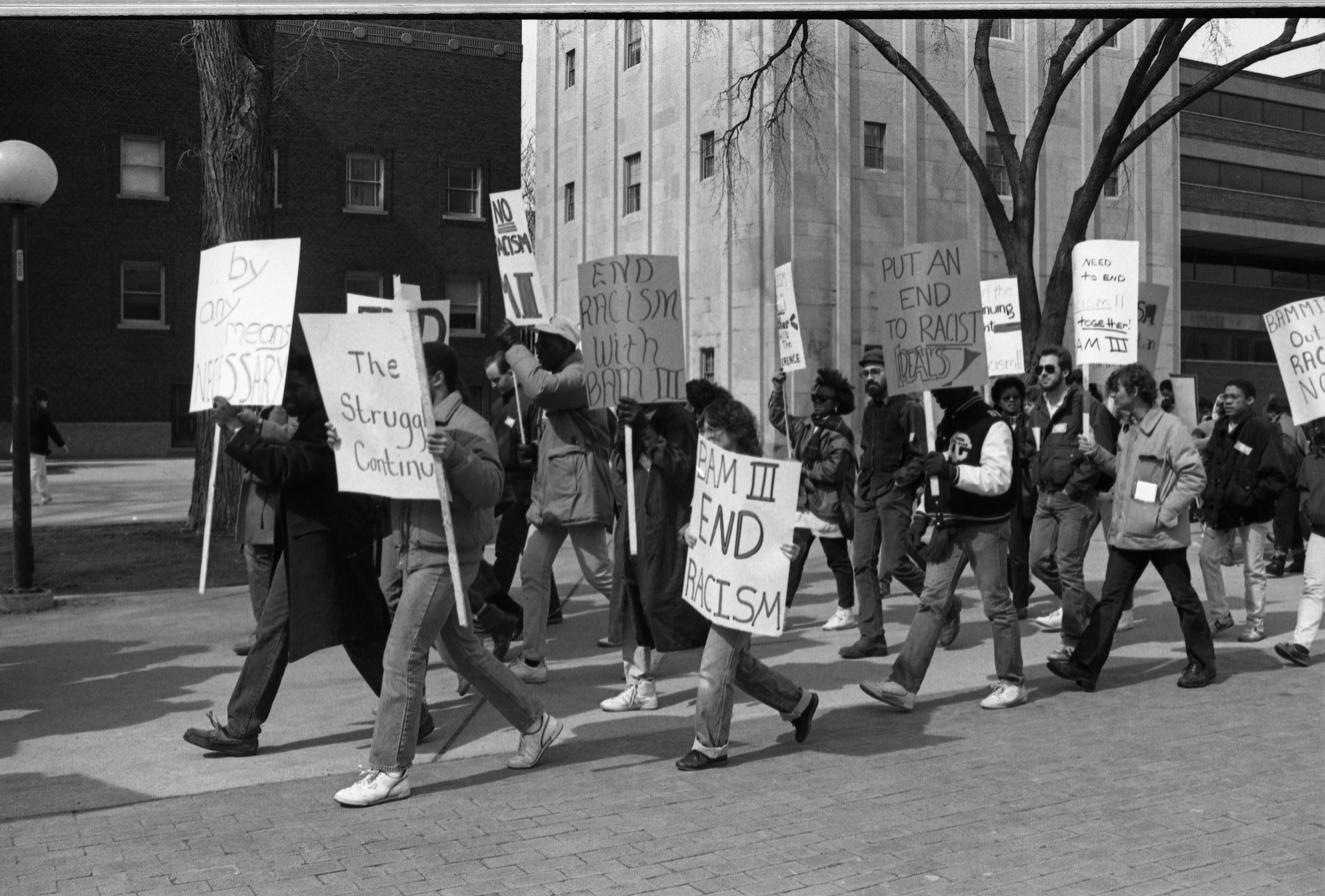 Image from Black Action Movement III Protesters March From Rackham To The Diag, March 18, 1987