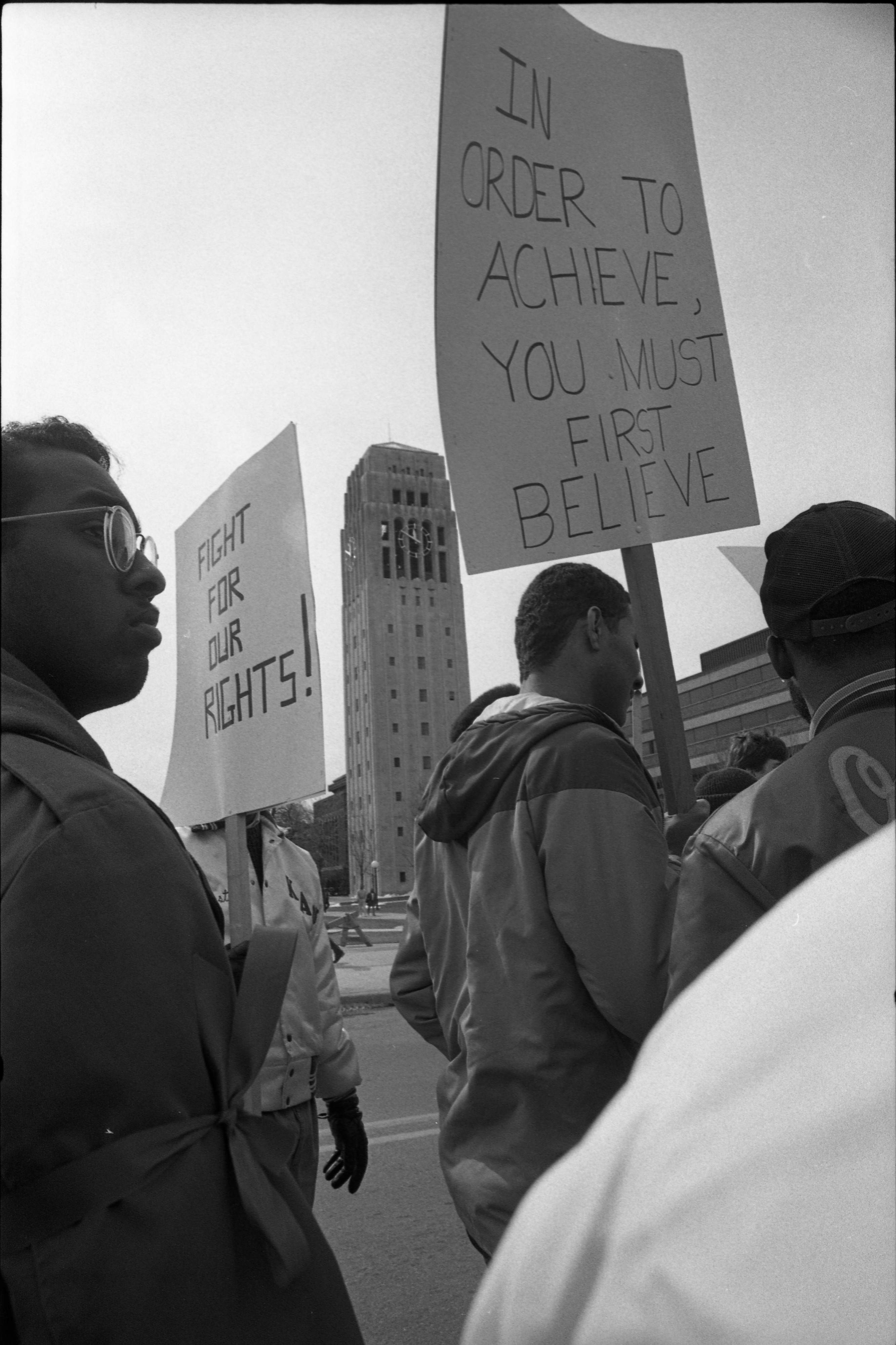 Black Action Movement III Protesters March With Signs, March 18, 1987 image