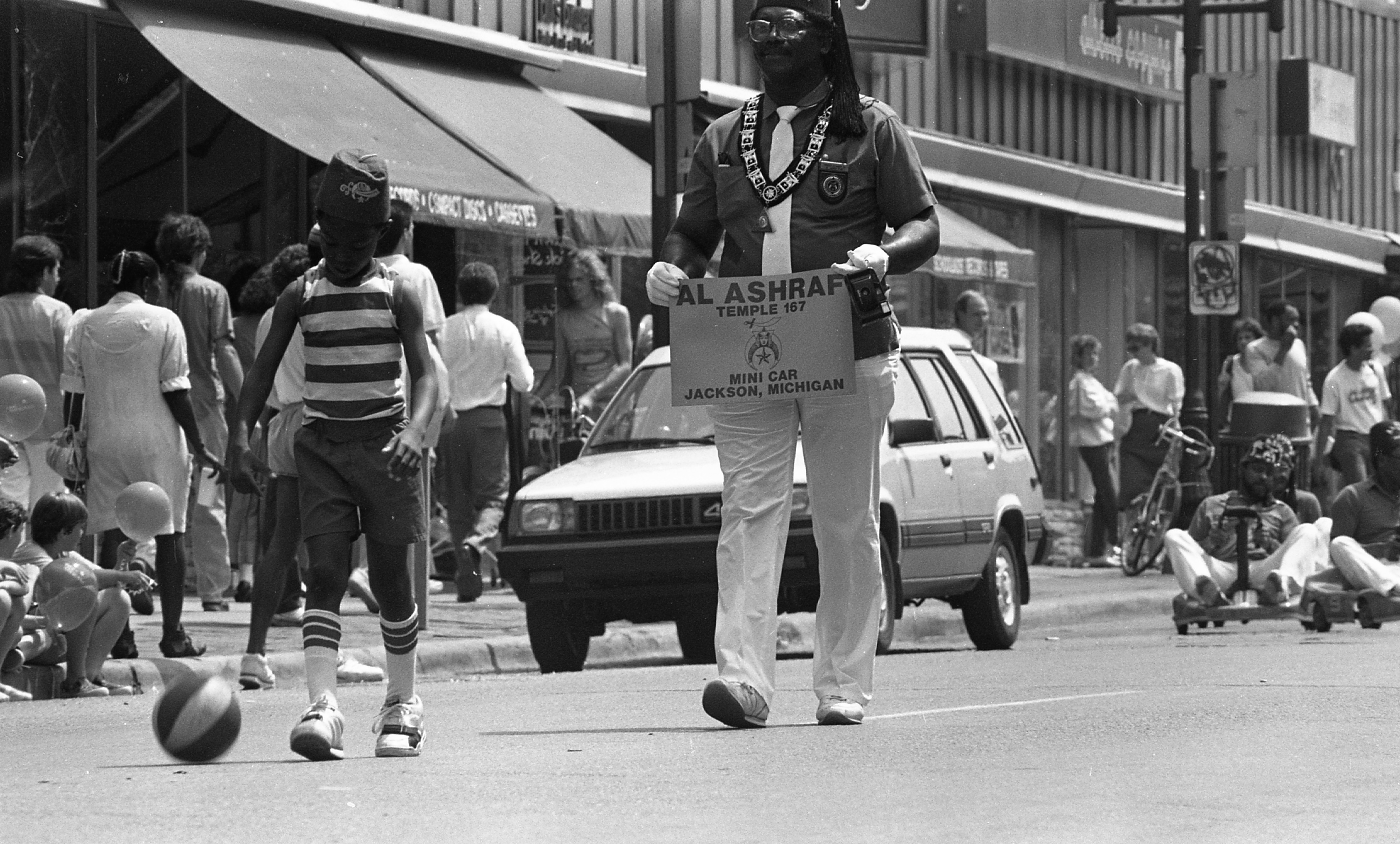 Al-Ashraf Temple 167 Members March In The Kelly-Miller Circus Parade, Liberty Street, June 23, 1989 image