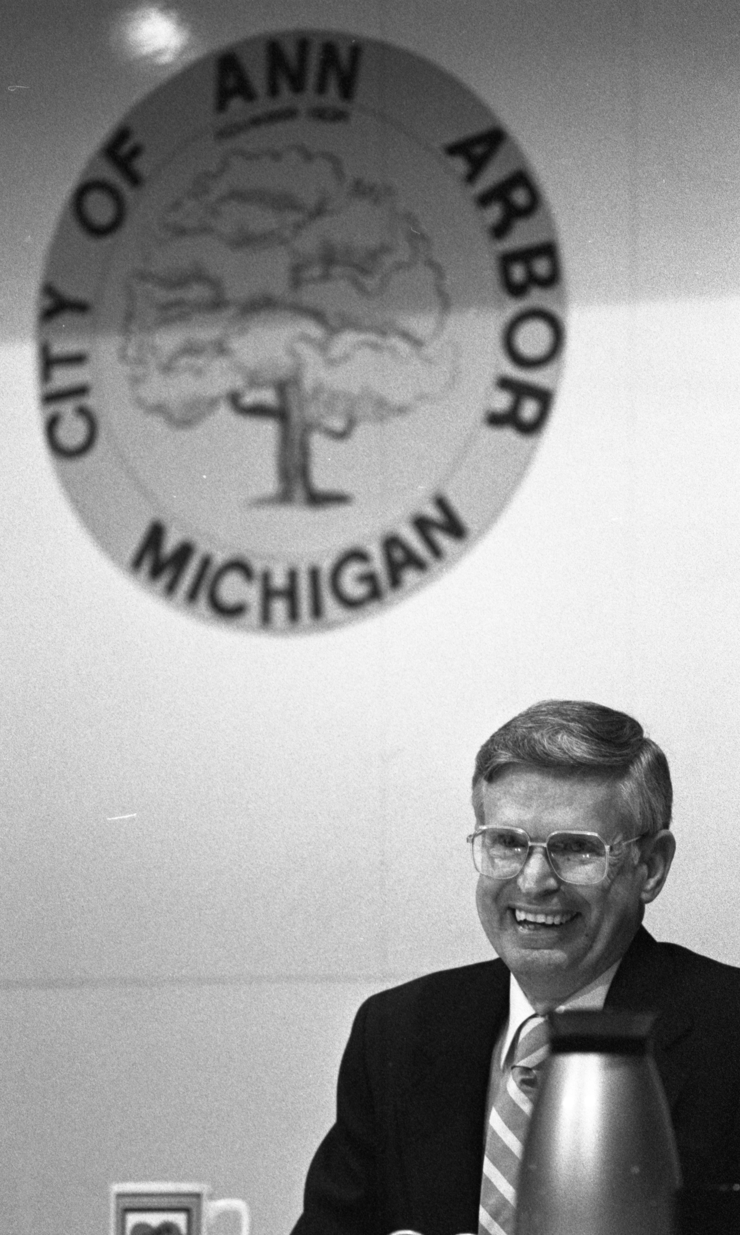 Godfrey Collins, Ann Arbor's City Manager, At His Last City Council Meeting Before Retirement, August 1988 image