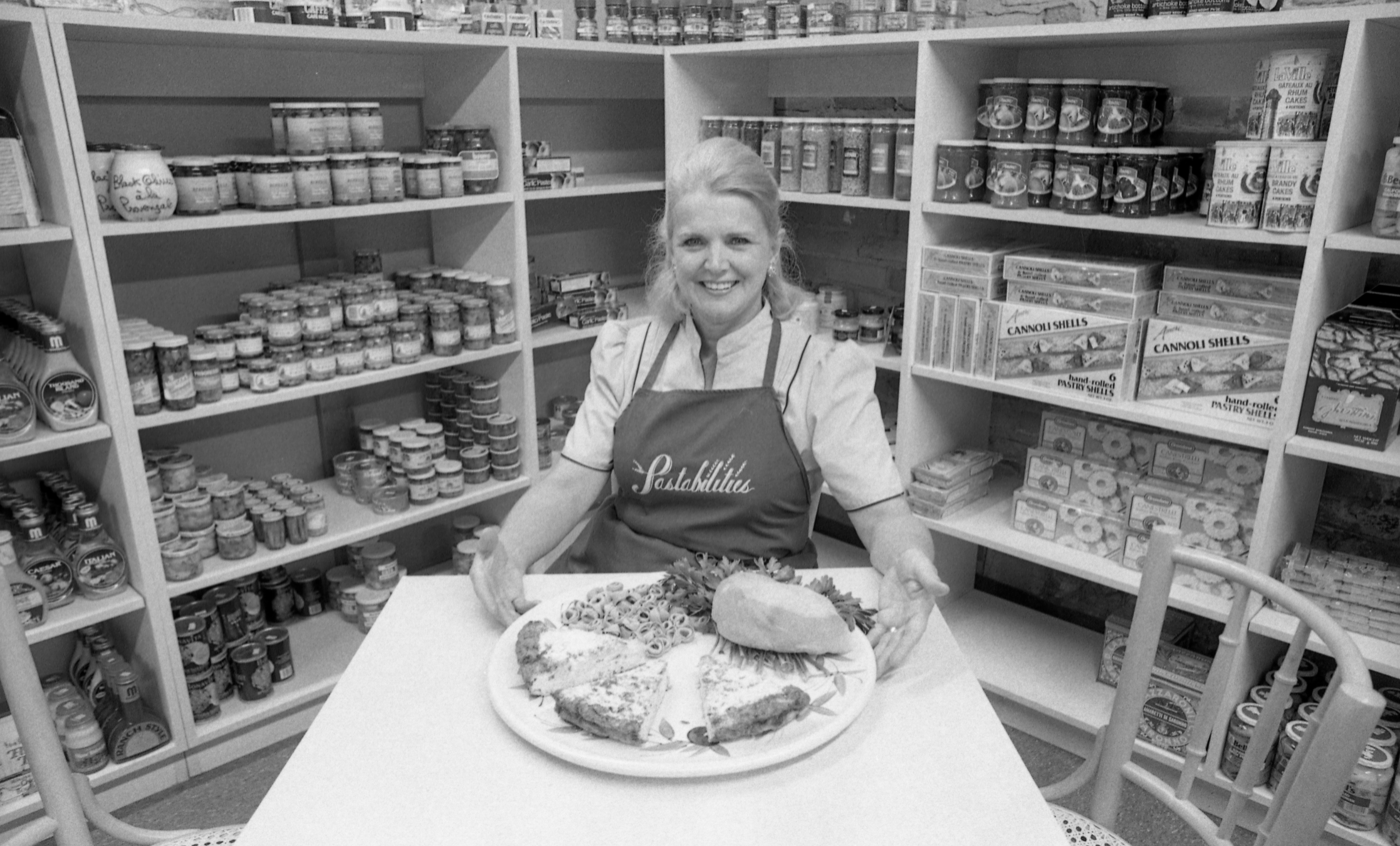 Marguerite Oliver Of Pastabilities With A Tray Of Food, July 1984 image