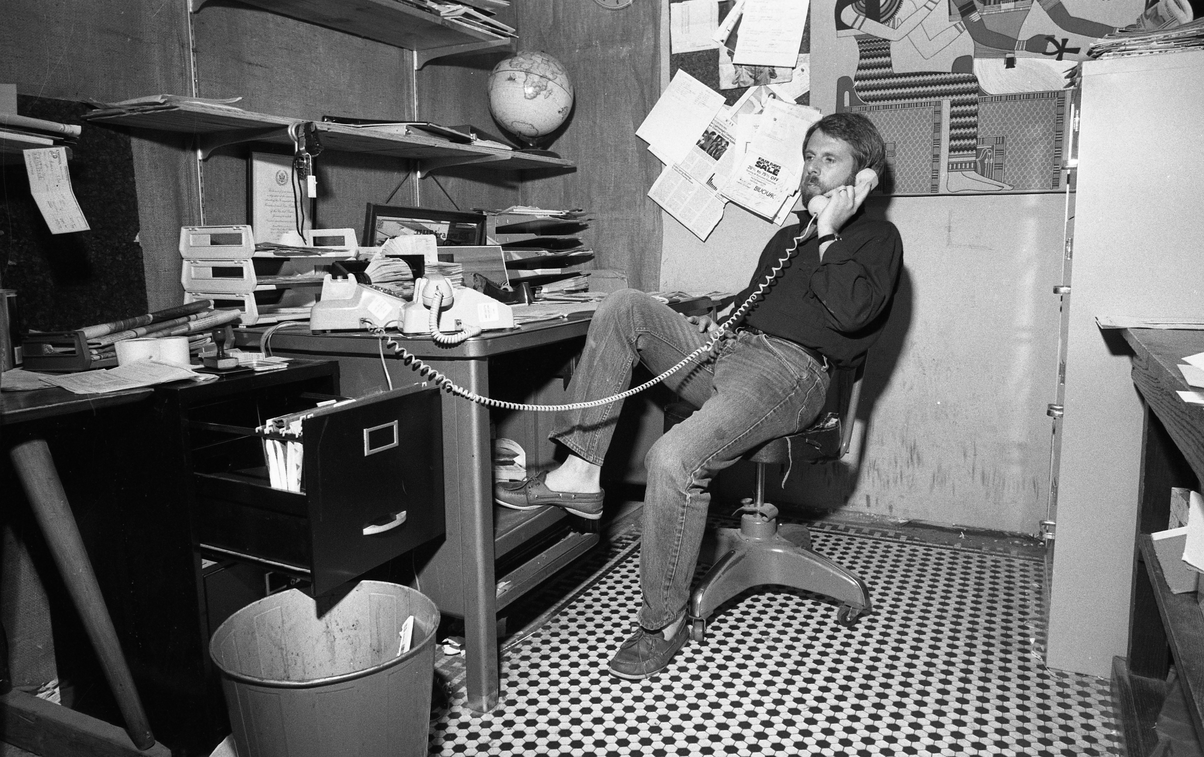 Bivouac Owner Ed Davidson's Office In Nickels Arcade Store, July 1984 image