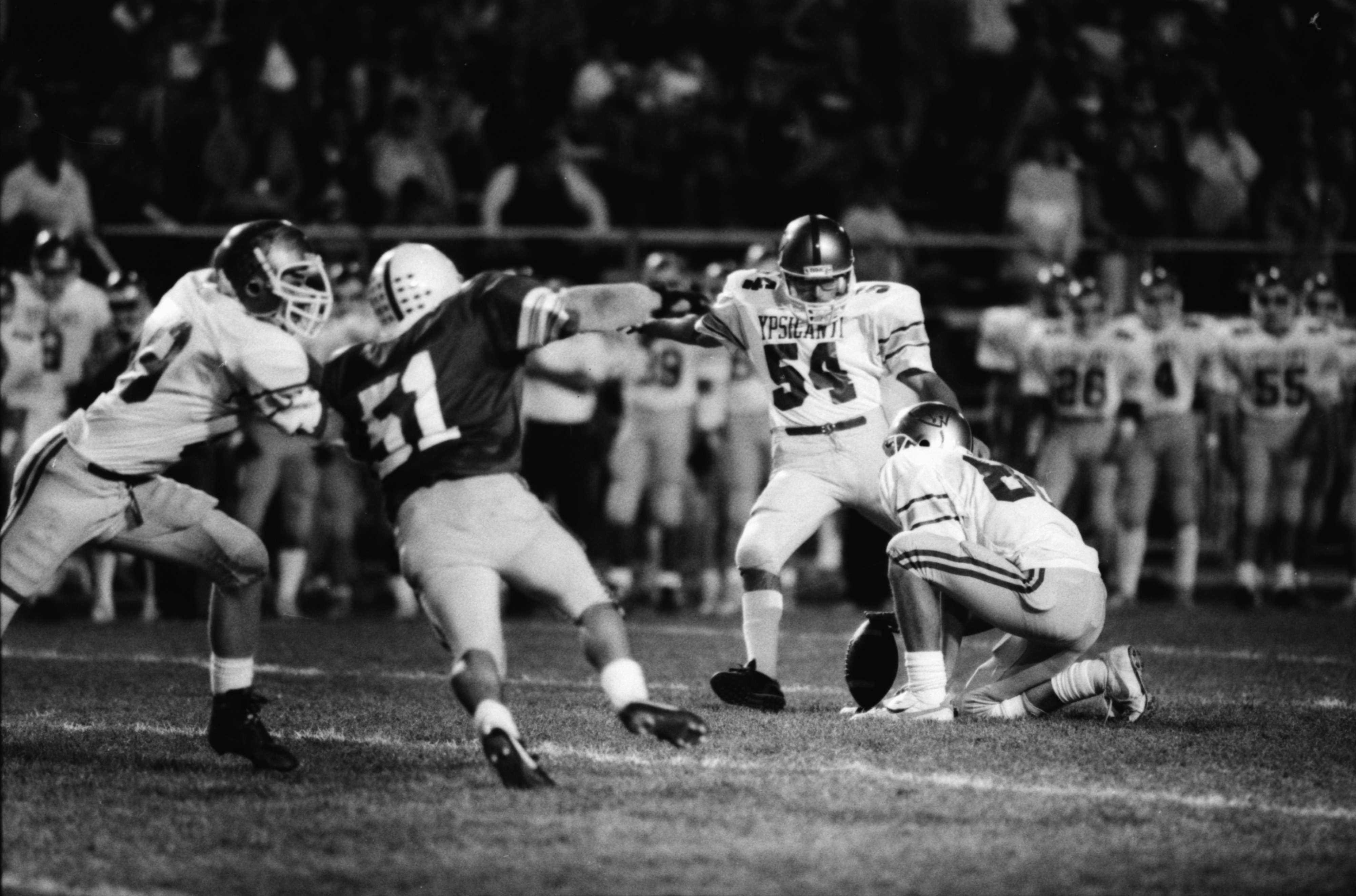 Ypsilanti Attempts a Field Goal in 7-17 Loss to Pioneer, October 1987 image