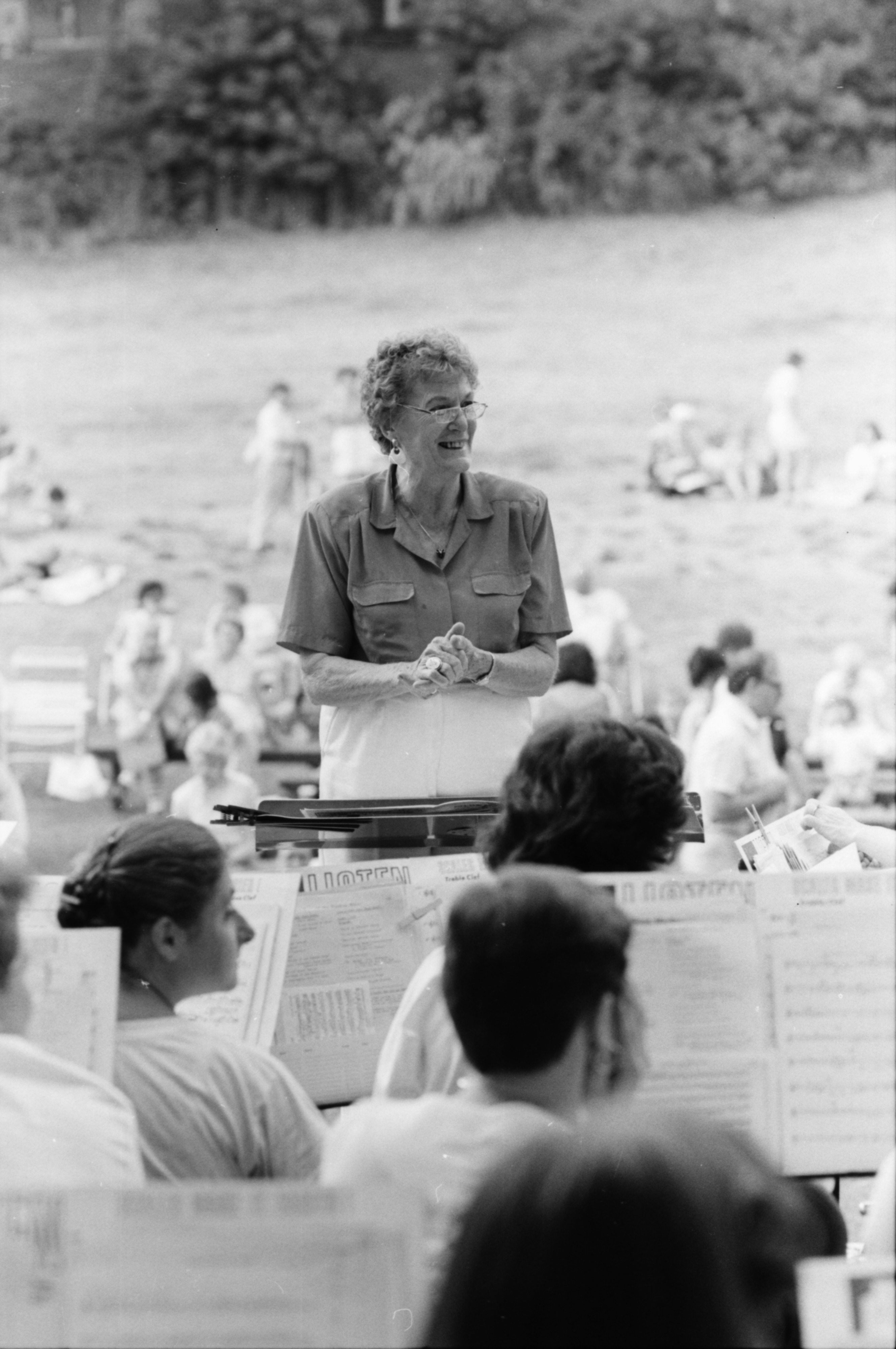 Ann Arbor Civic Band plays at West Park in 90-degree heat, July, 1988 image