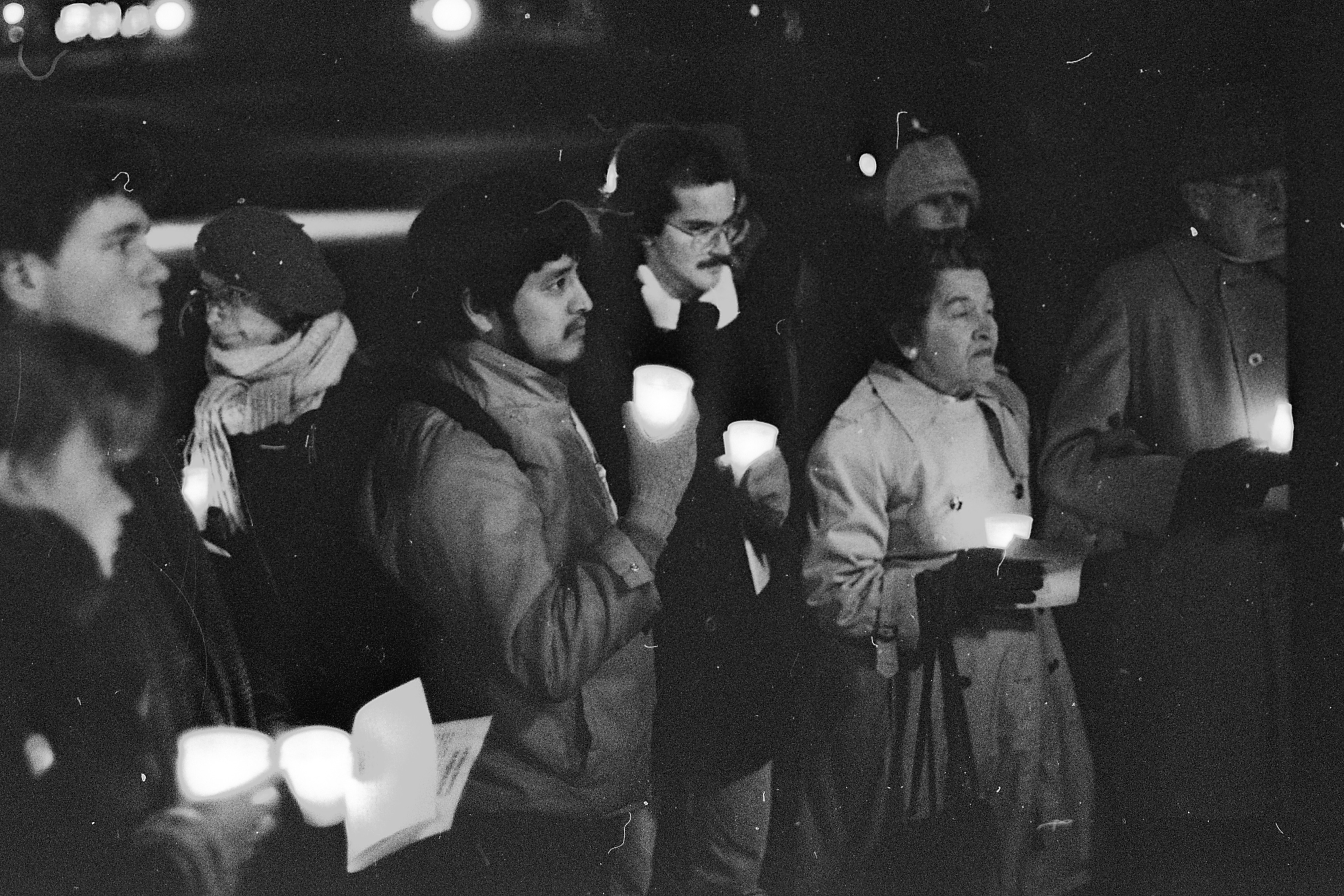 Protesting Nuclear Weapons at Candlelight Vigil, University of Michigan Diag, November 1986 image
