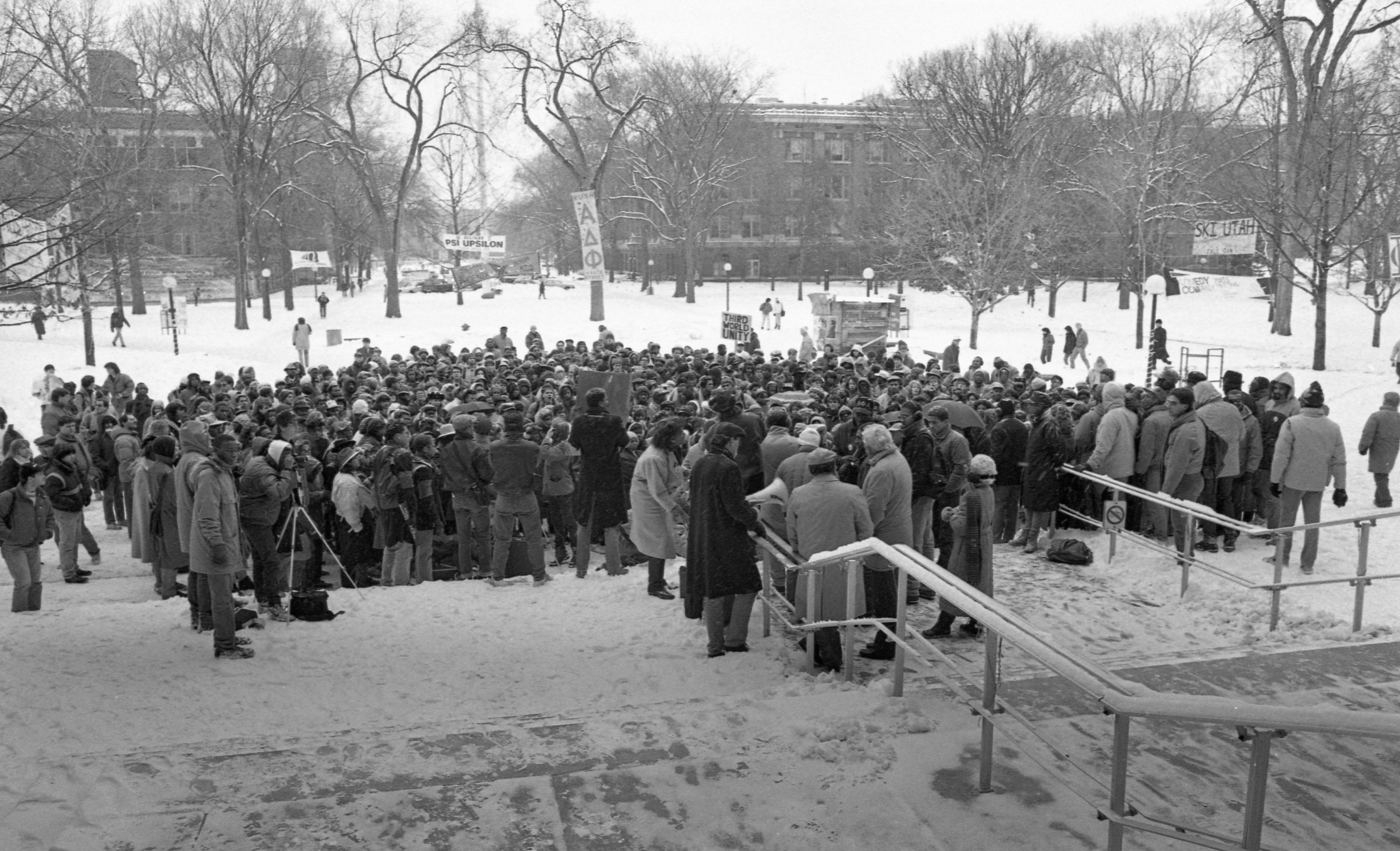 Martin Luther King Memorial Marchers Gather On The U-M Diag, January 1987 image