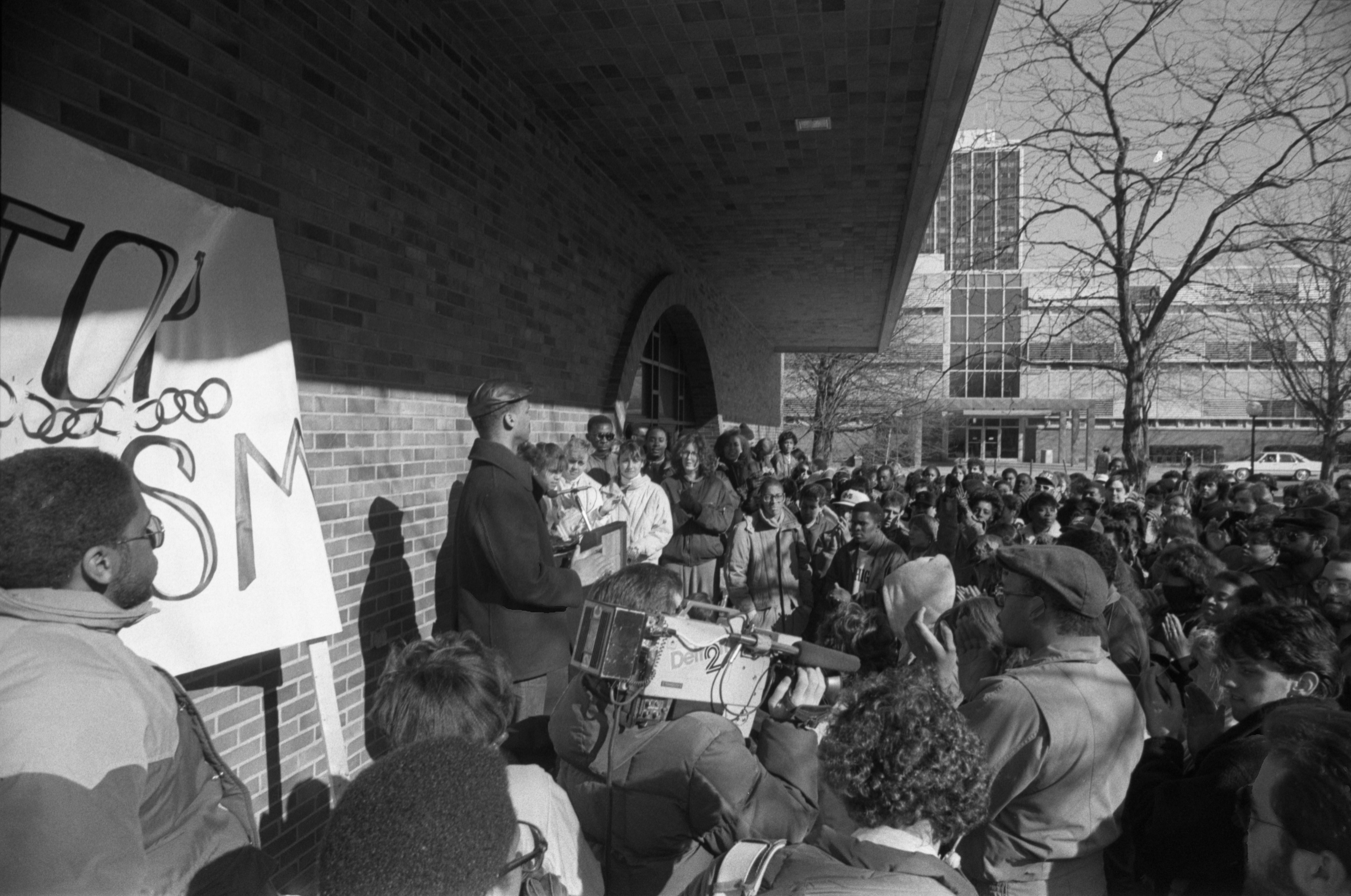 Image from Black Action Movement Protesters Outside UM Administration Building, March 20, 1987