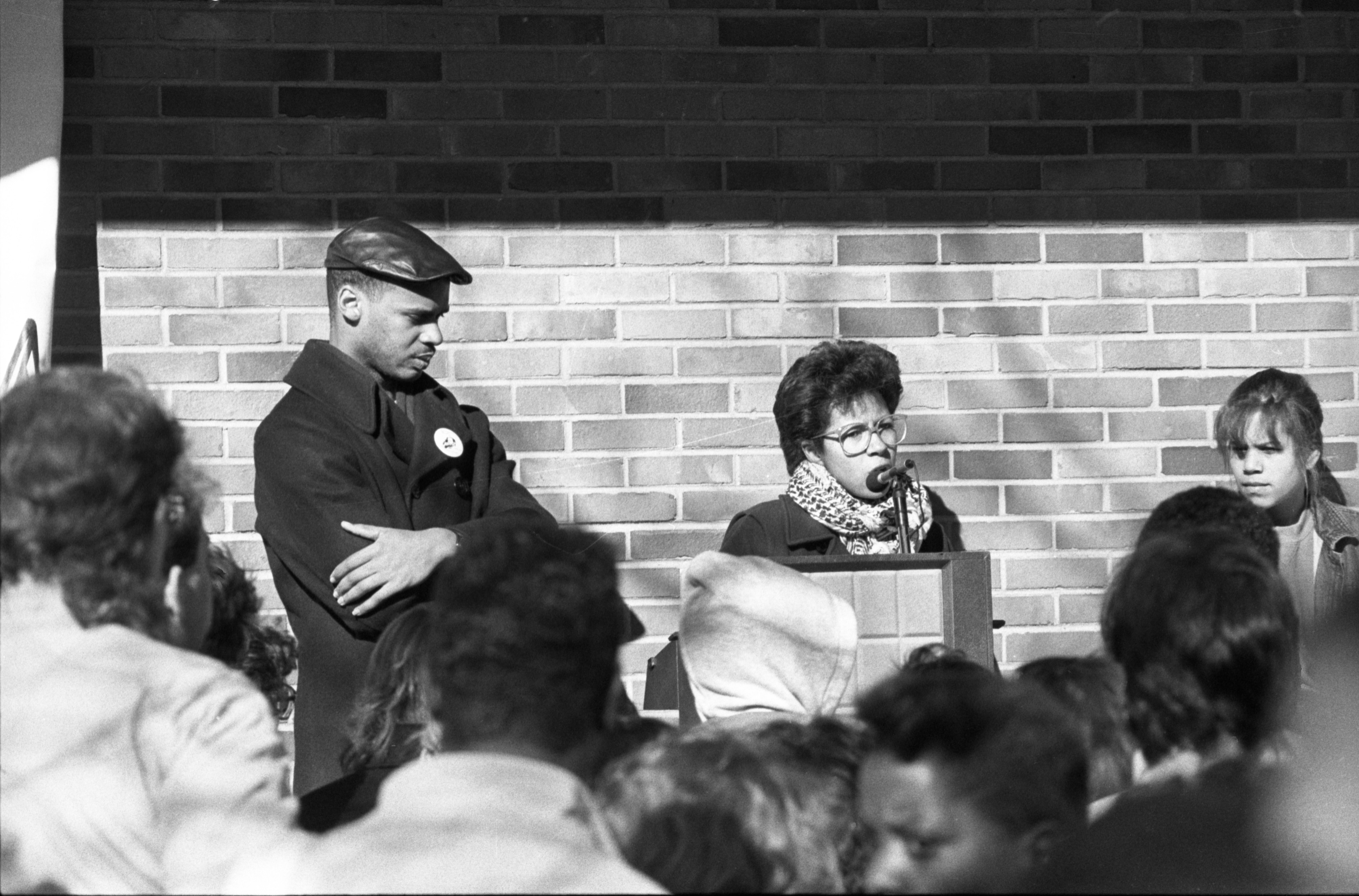 Barbara Ransby Speaks To Protesters Outside UM Administration Building, March 20, 1987 image