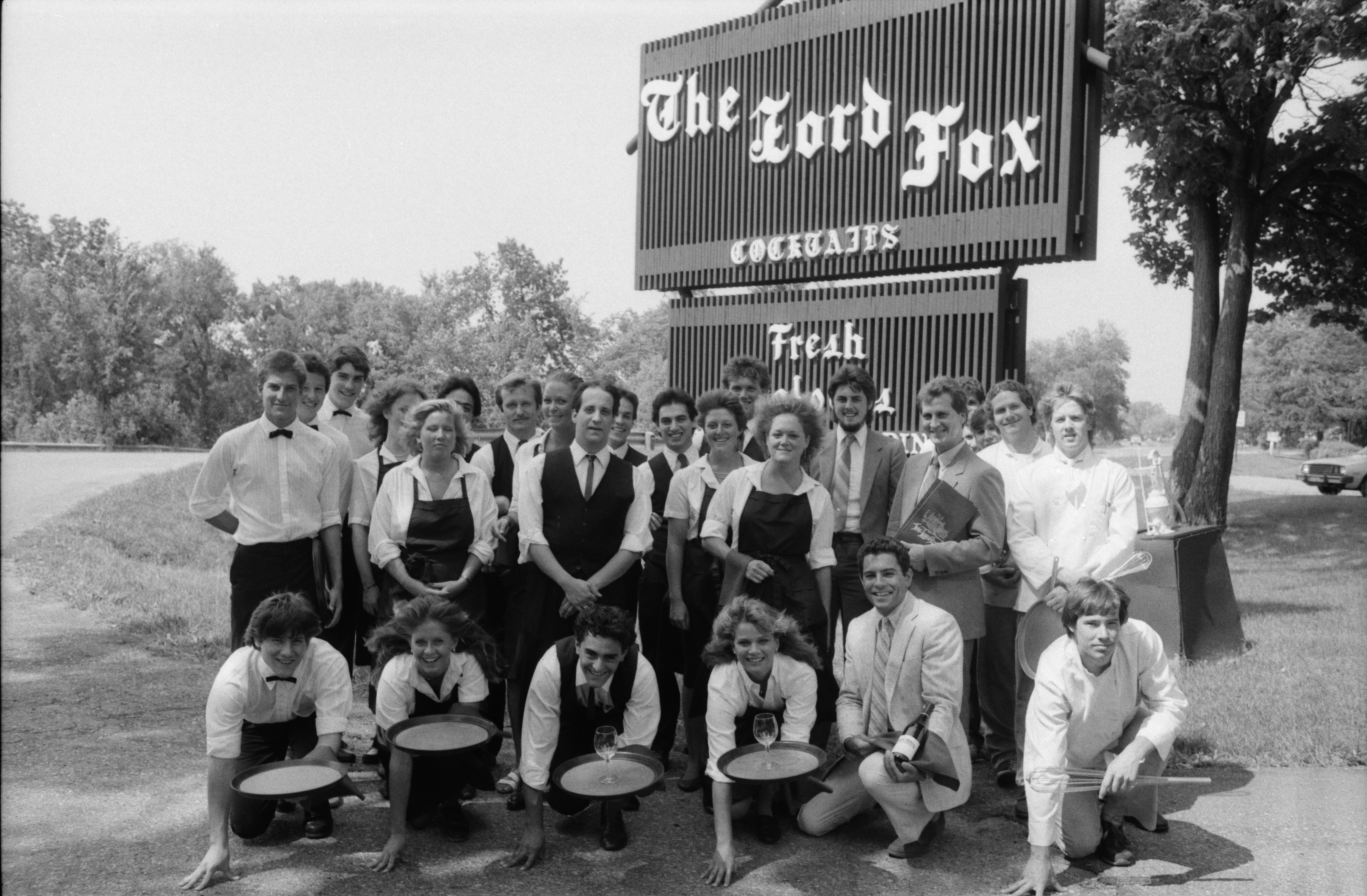 Staff Group Photo Outside of The Lord Fox, 1986 image