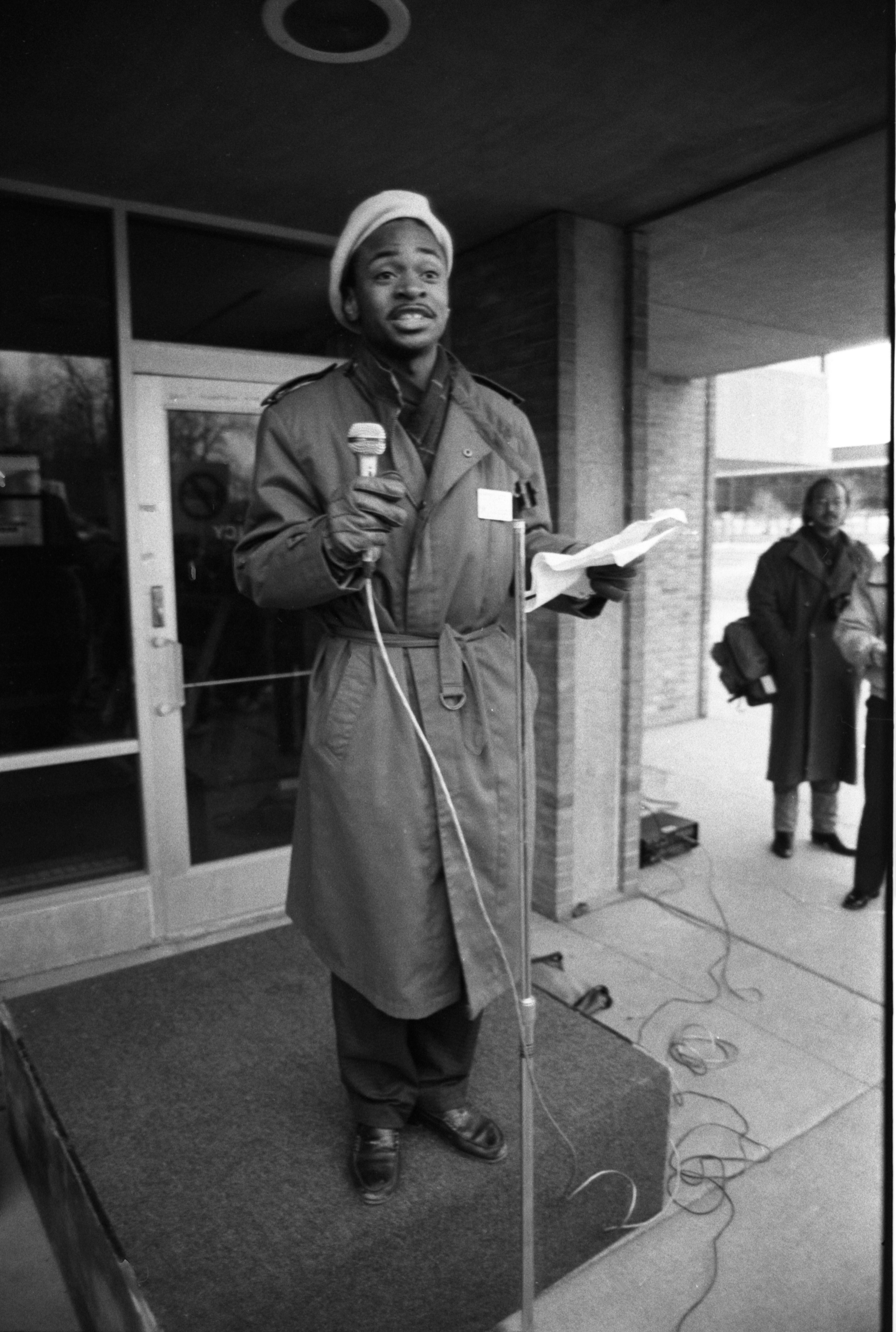 Mike Nelson, Speaker At The Anti-Racism Demonstration, February 13, 1987 image